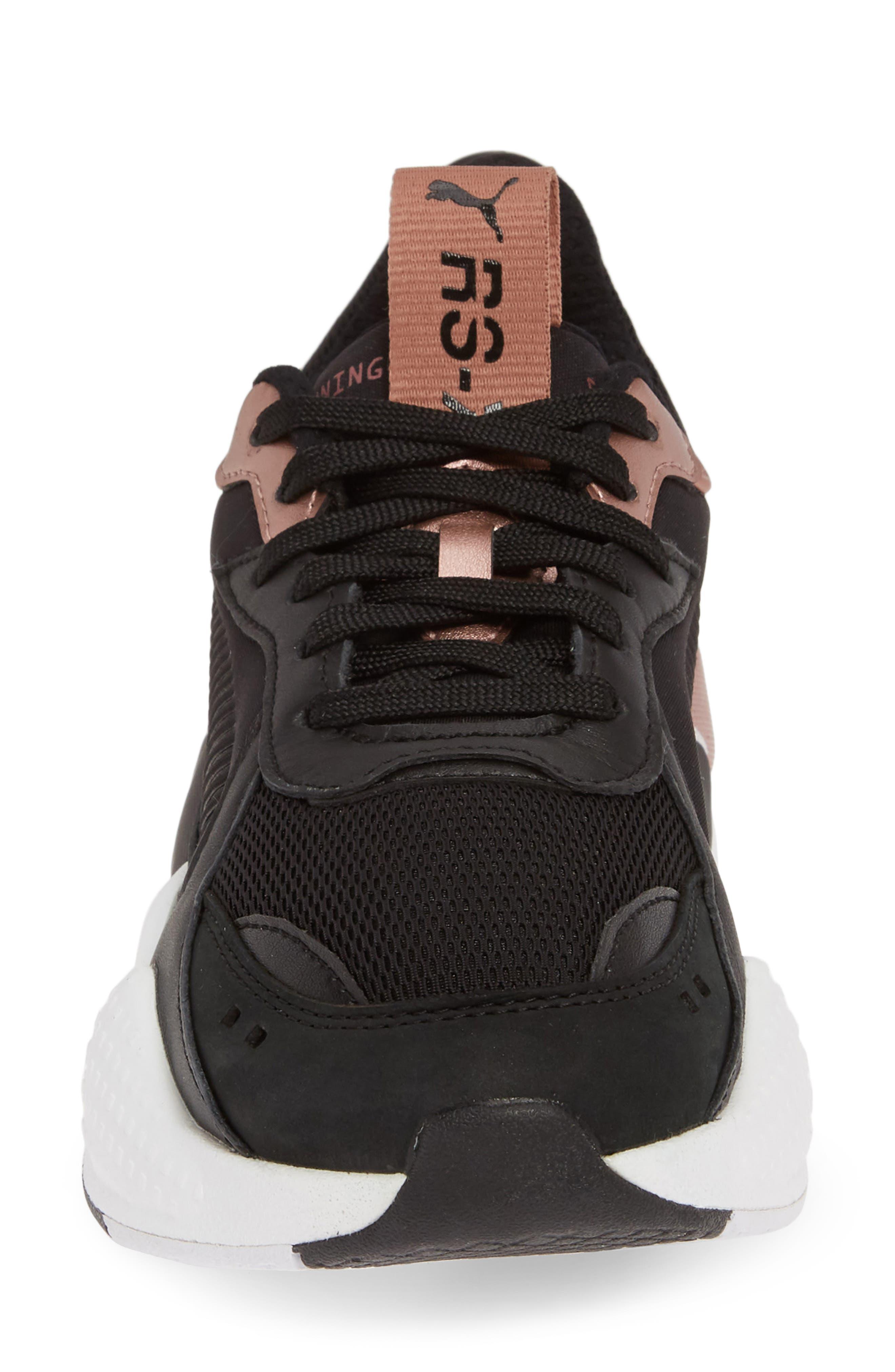 PUMA, RS-X Trophy Sneaker, Alternate thumbnail 4, color, BLACK/ ROSE GOLD