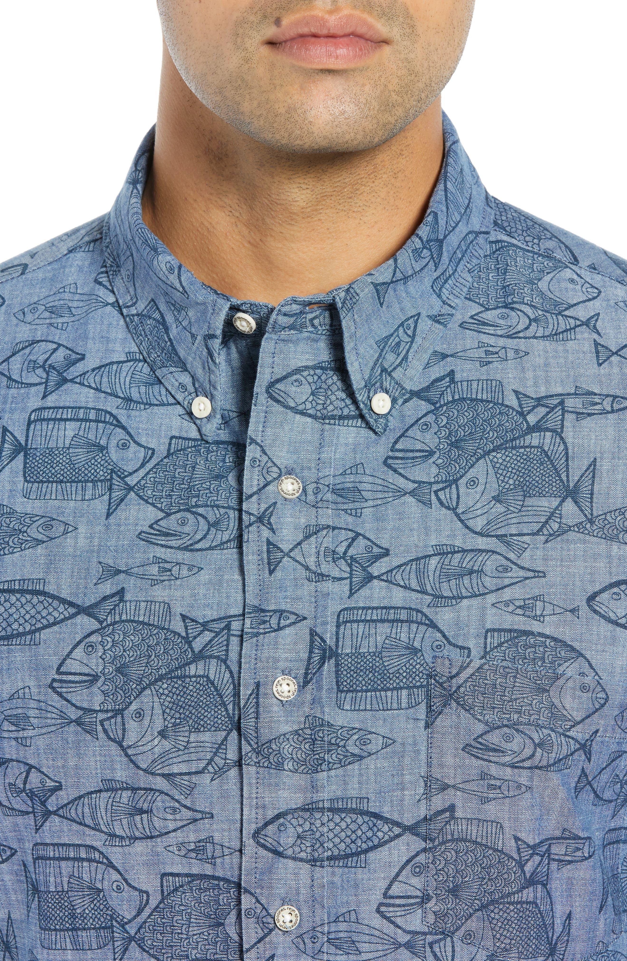 REYN SPOONER, Kauhulu Tailored Fit Sport Shirt, Alternate thumbnail 2, color, CHAMBRAY BLUE