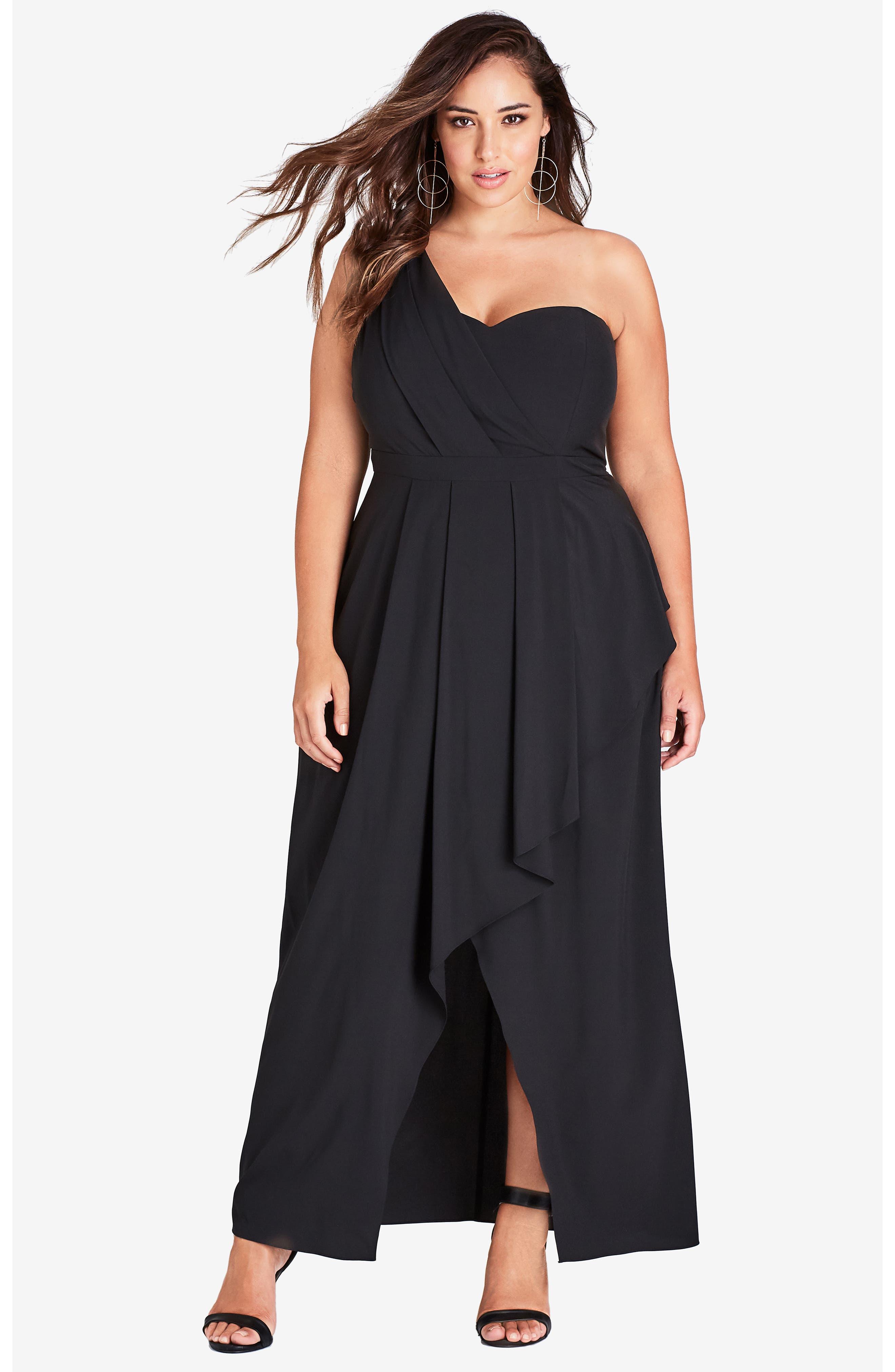 CITY CHIC, Allure One-Shoulder Maxi Dress, Alternate thumbnail 6, color, BLACK