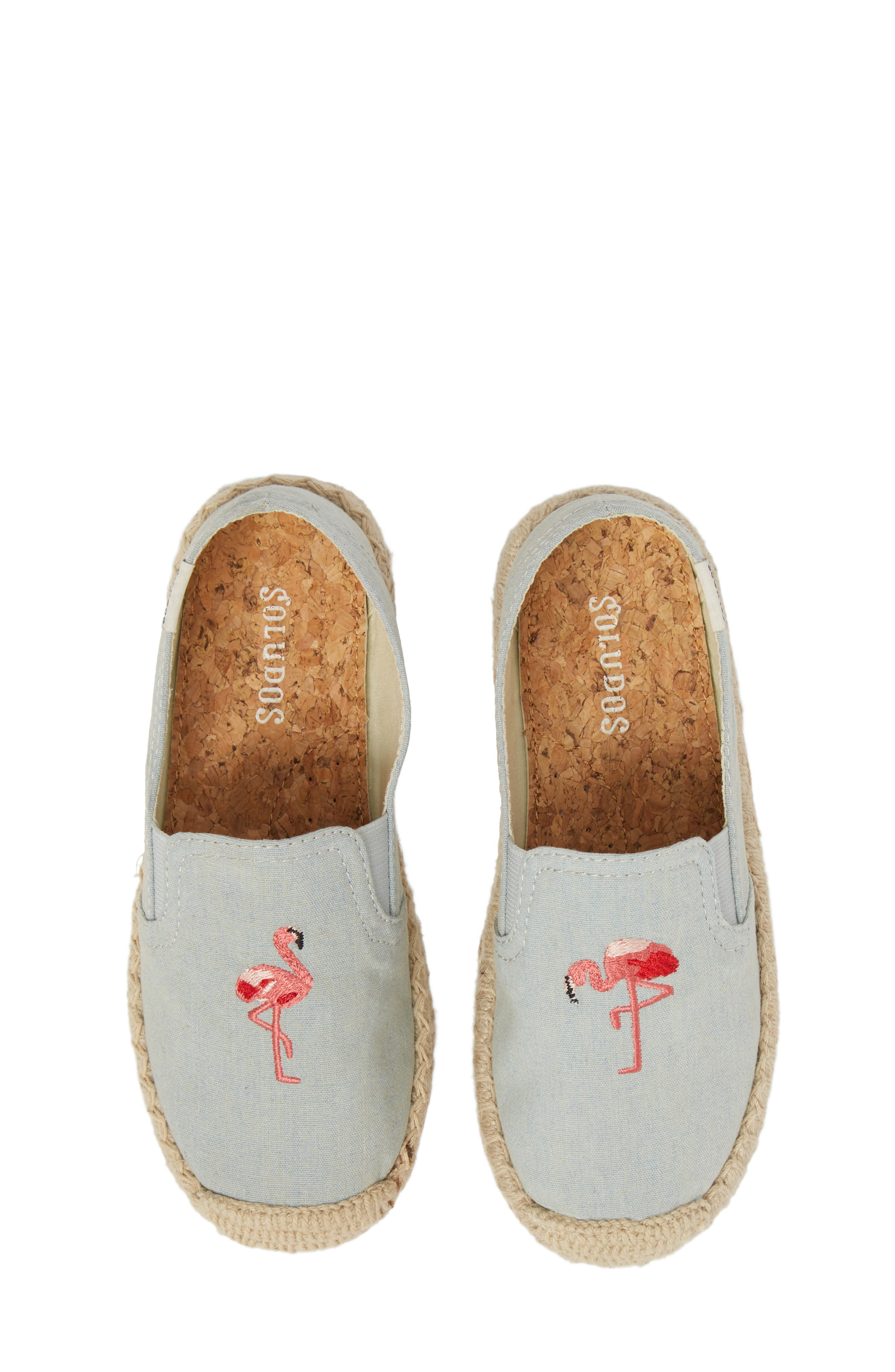 SOLUDOS, Flamingo Embroidered Espadrille, Main thumbnail 1, color, CHAMBRAY
