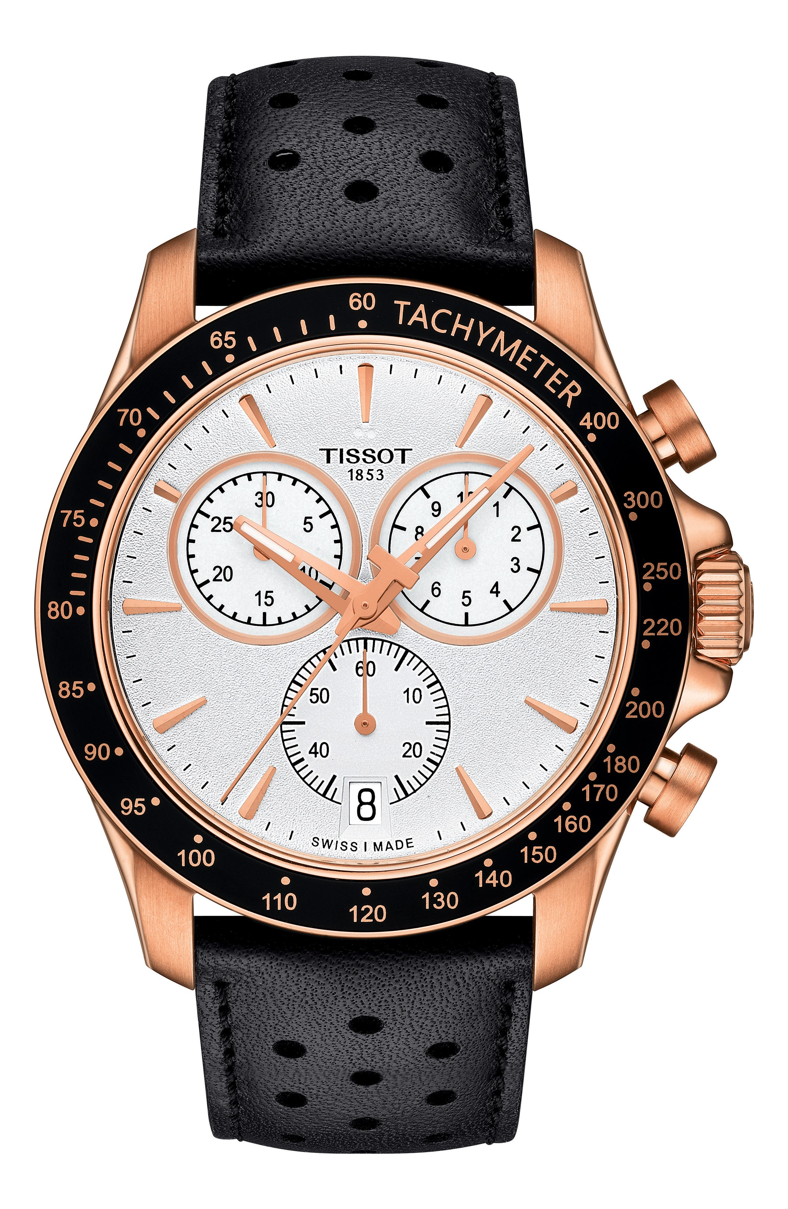 TISSOT, V8 Chronograph Leather Strap Watch, 43mm, Main thumbnail 1, color, BLACK/ SILVER/ ROSE GOLD