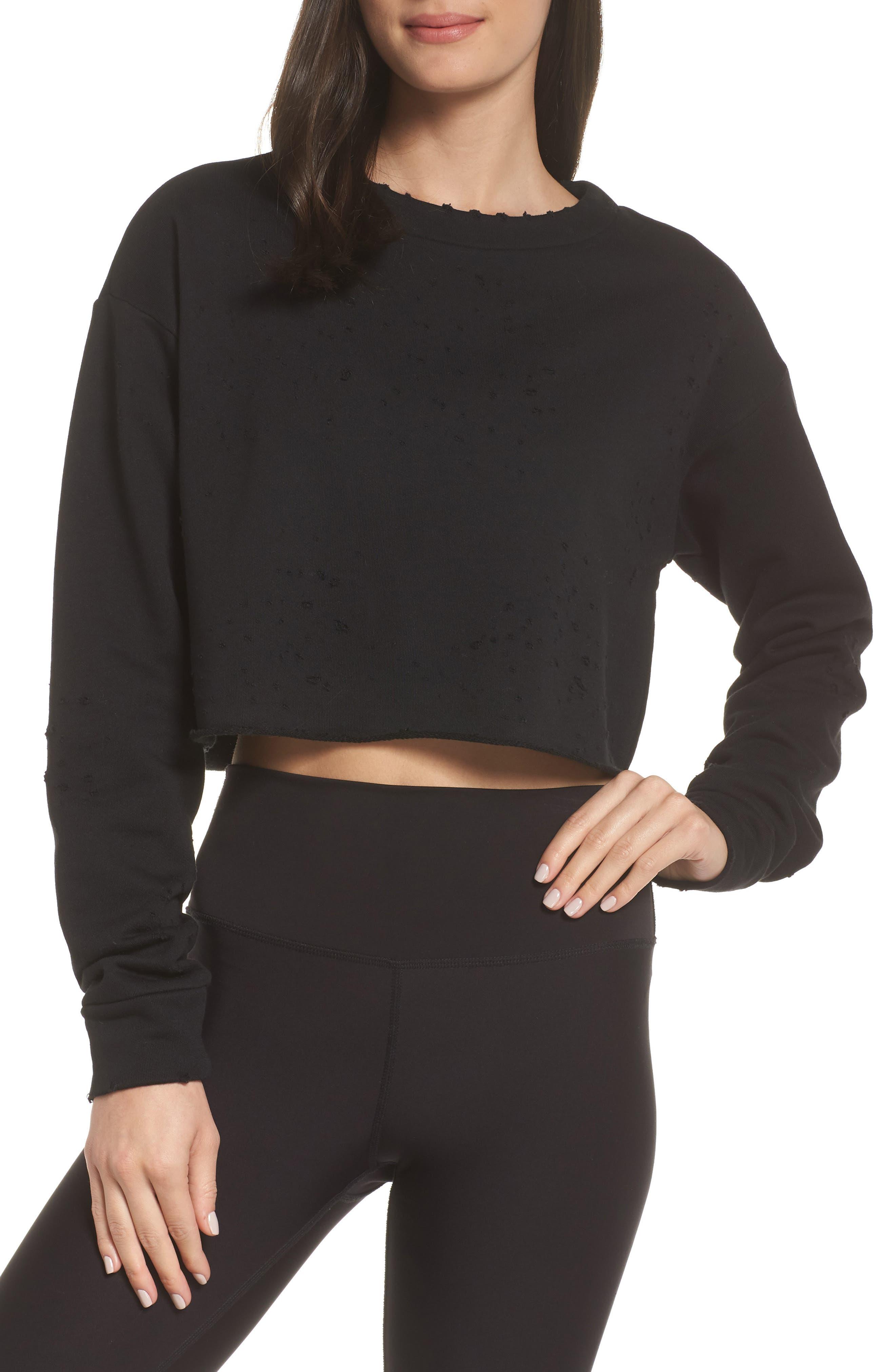 ALO Fierce Crew Pullover, Main, color, BLACK