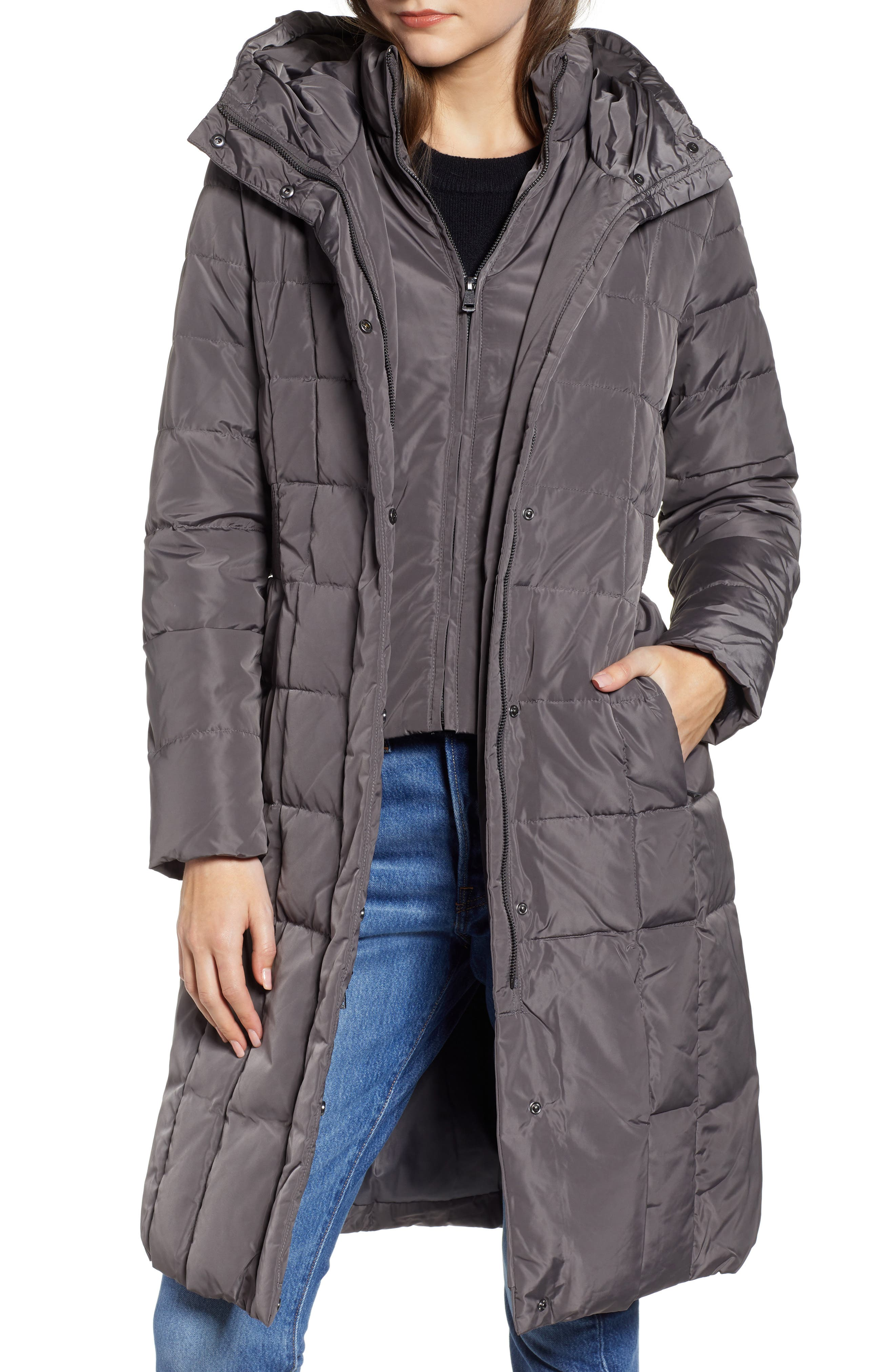 COLE HAAN SIGNATURE, Cole Haan Bib Insert Down & Feather Fill Coat, Main thumbnail 1, color, 024