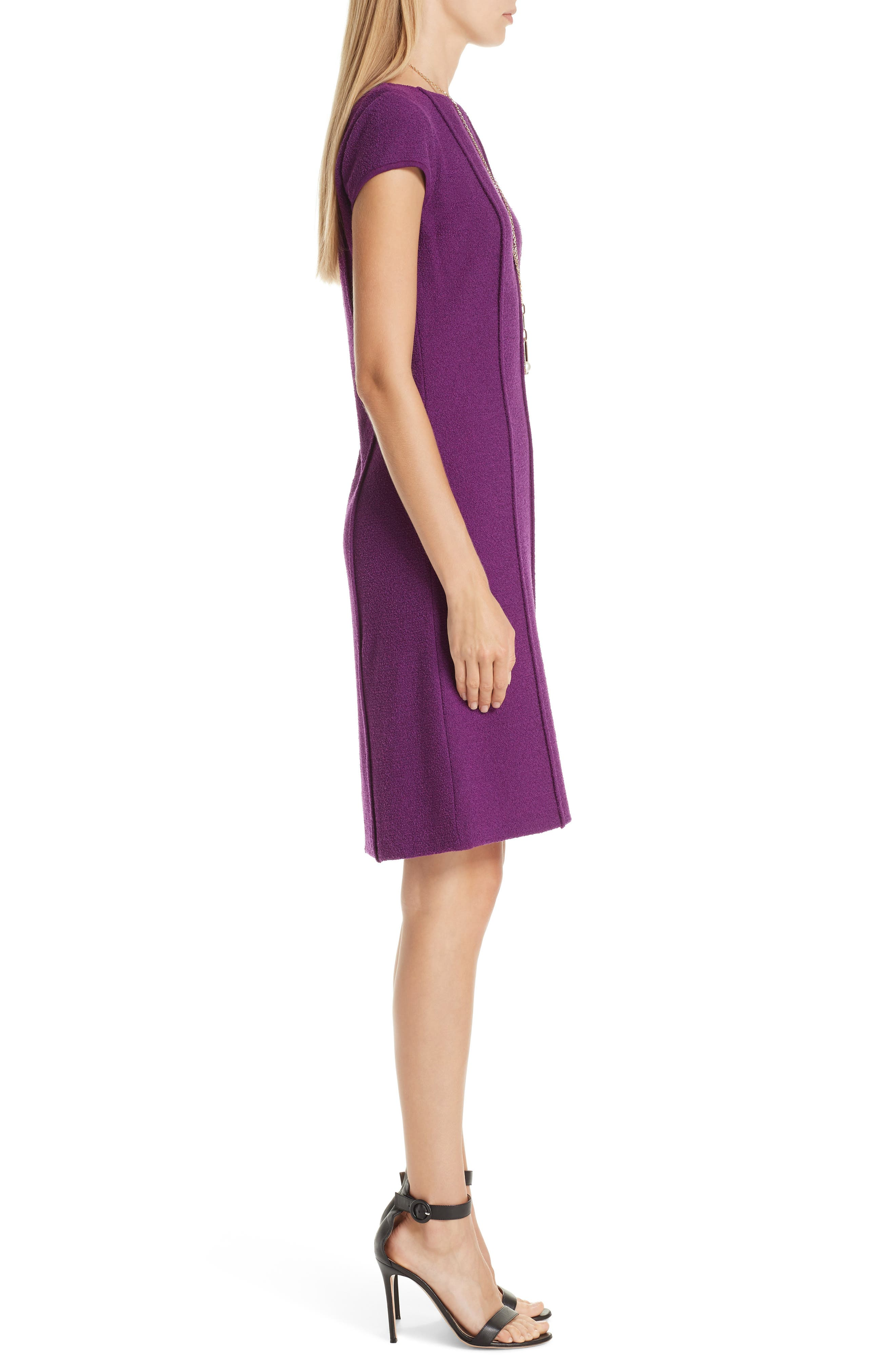ST. JOHN COLLECTION, Ana Bouclé Knit Dress, Alternate thumbnail 2, color, IRIS