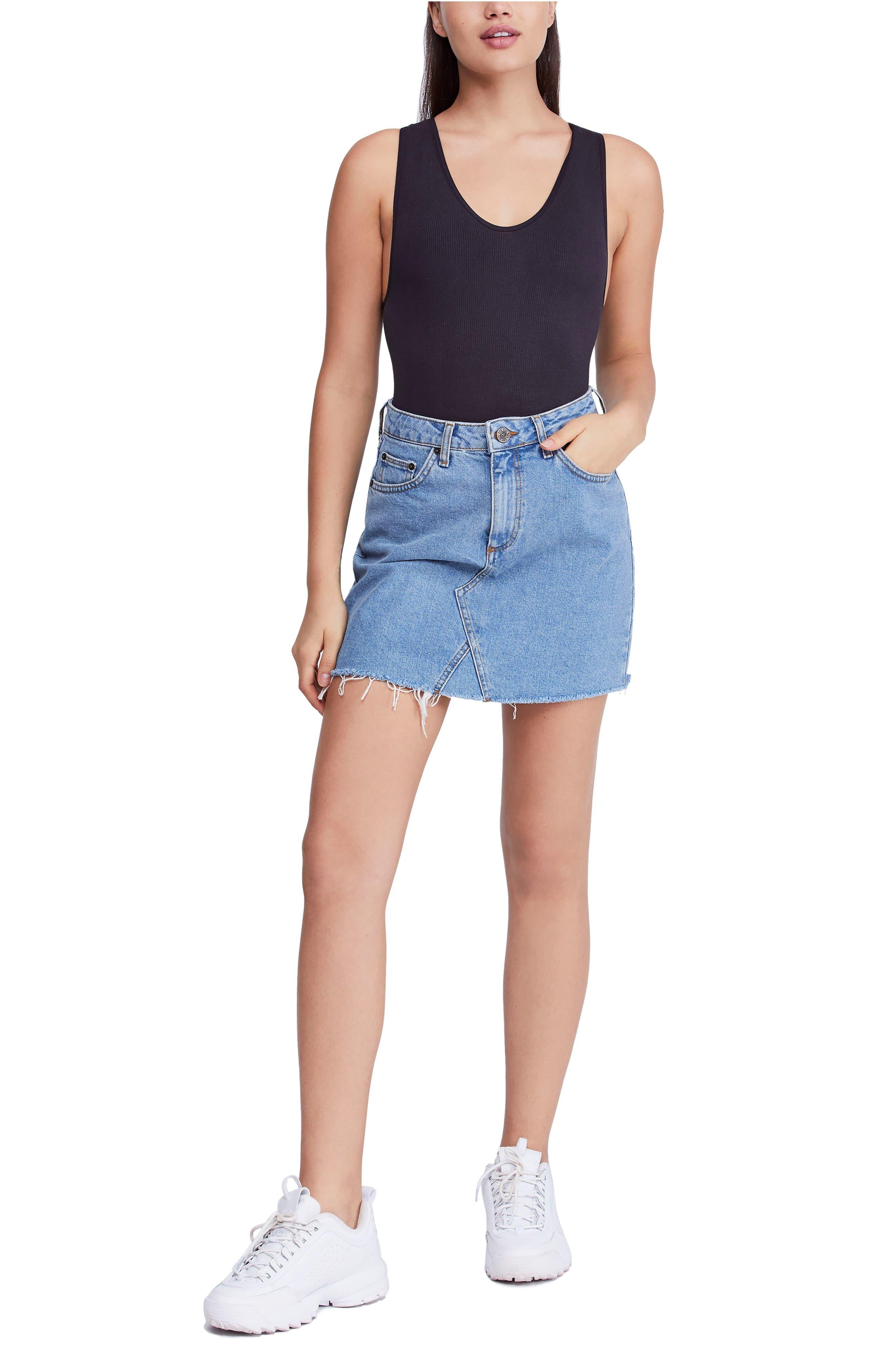 BDG, Urban Outfitters Denim Raw Edge Miniskirt, Alternate thumbnail 7, color, 400