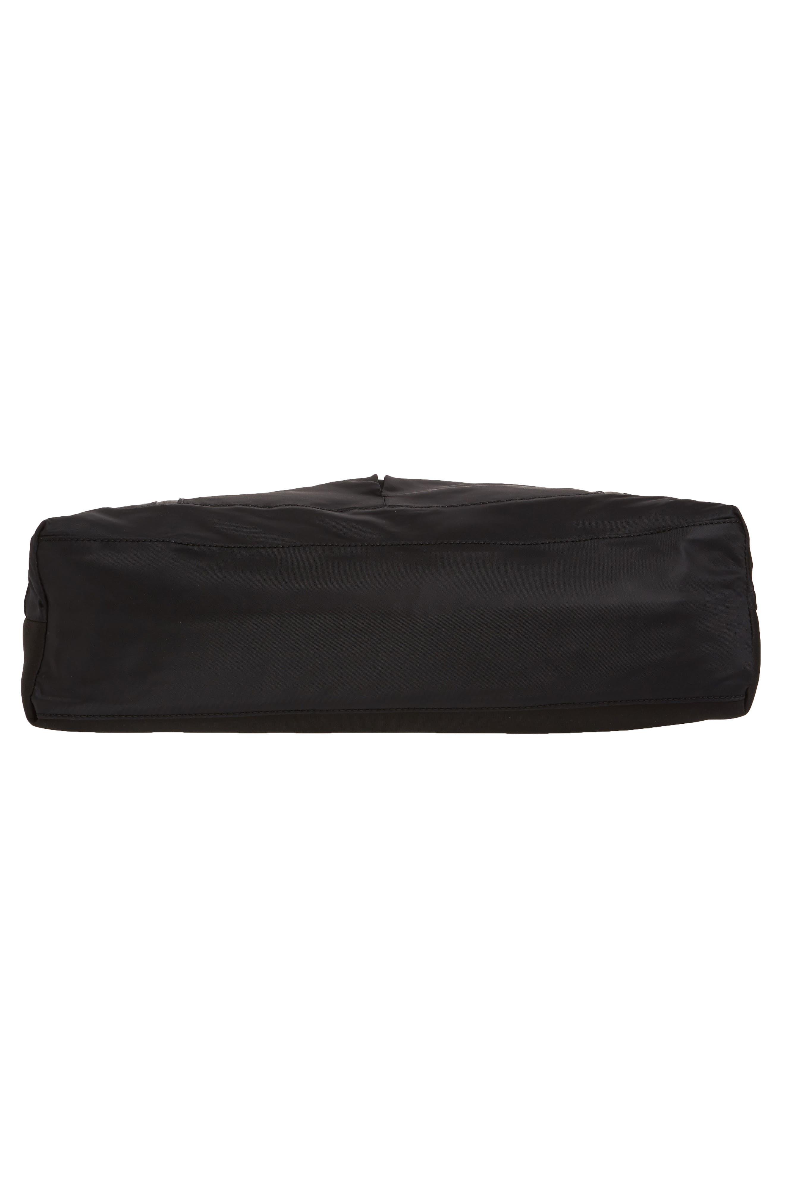 ZELLA, Reflective Nylon Tote Bag, Alternate thumbnail 7, color, BLACK