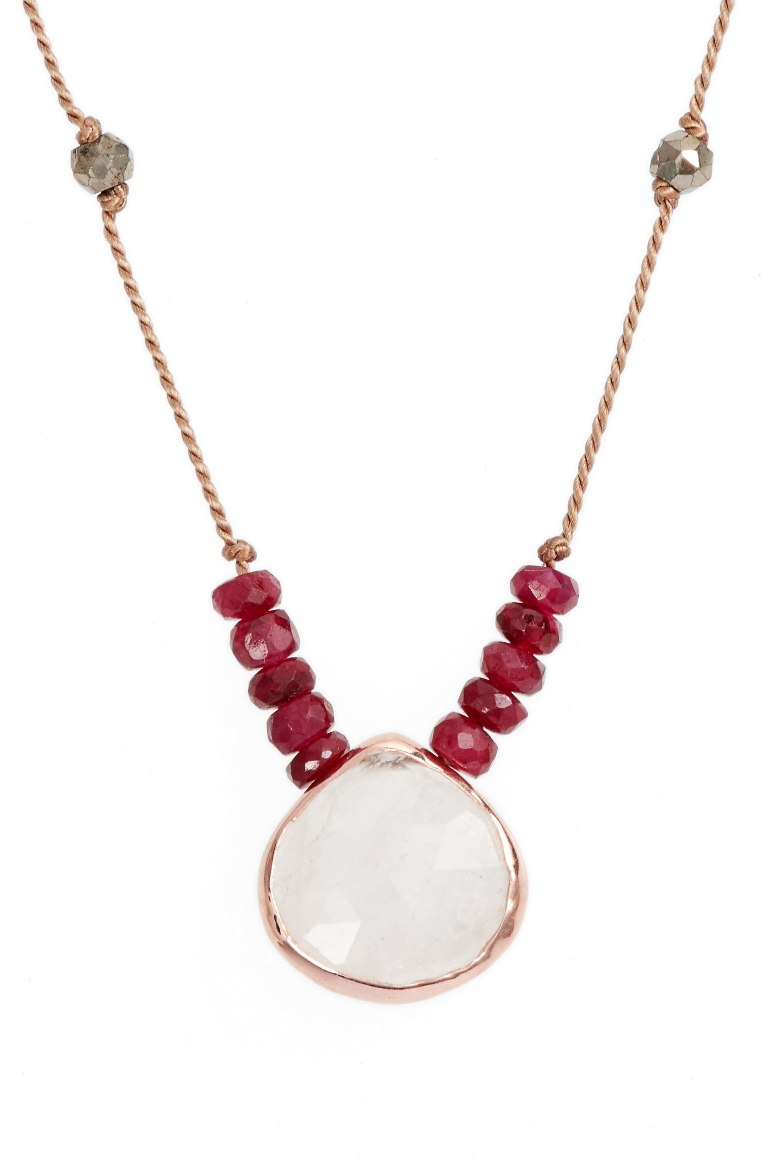 ELA RAE Sylvie Semiprecious Stone Necklace, Main, color, MOONSTONE