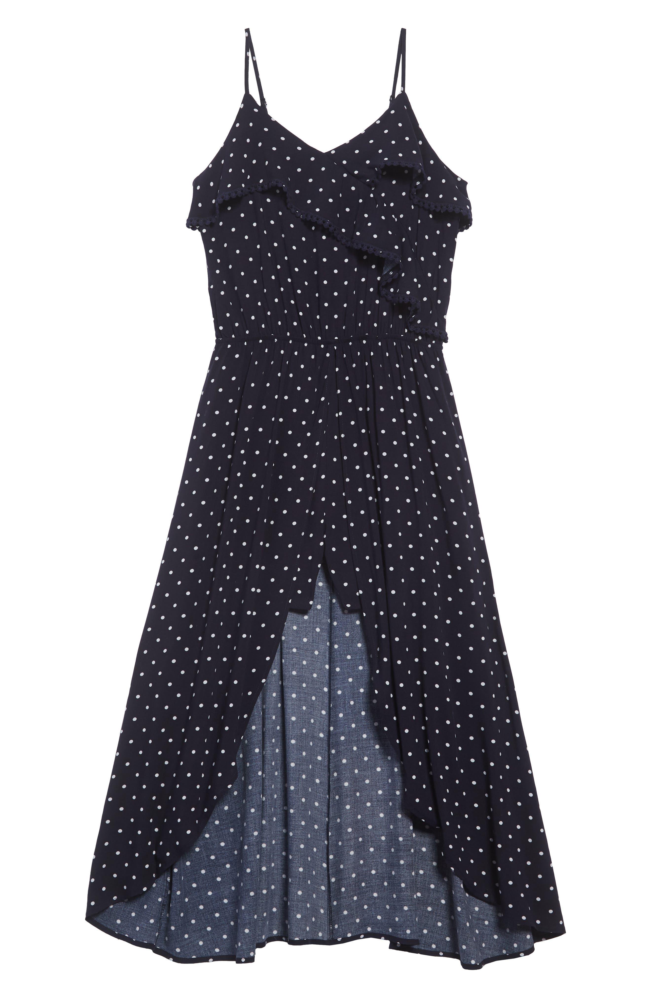 LOVE, FIRE Dot High/Low Dress, Main, color, 415
