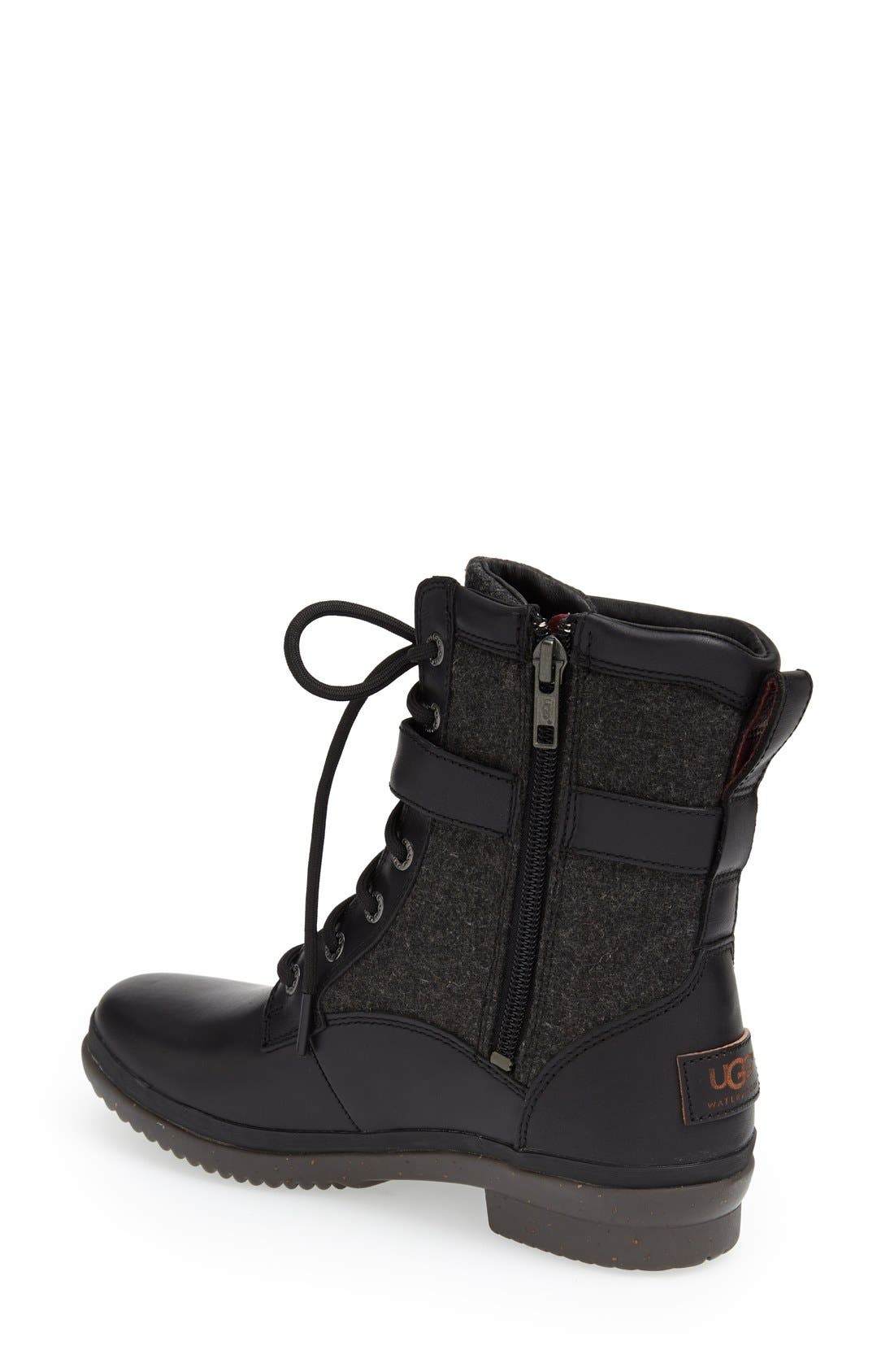 UGG<SUP>®</SUP>, Kesey Waterproof Boot, Alternate thumbnail 4, color, BLACK