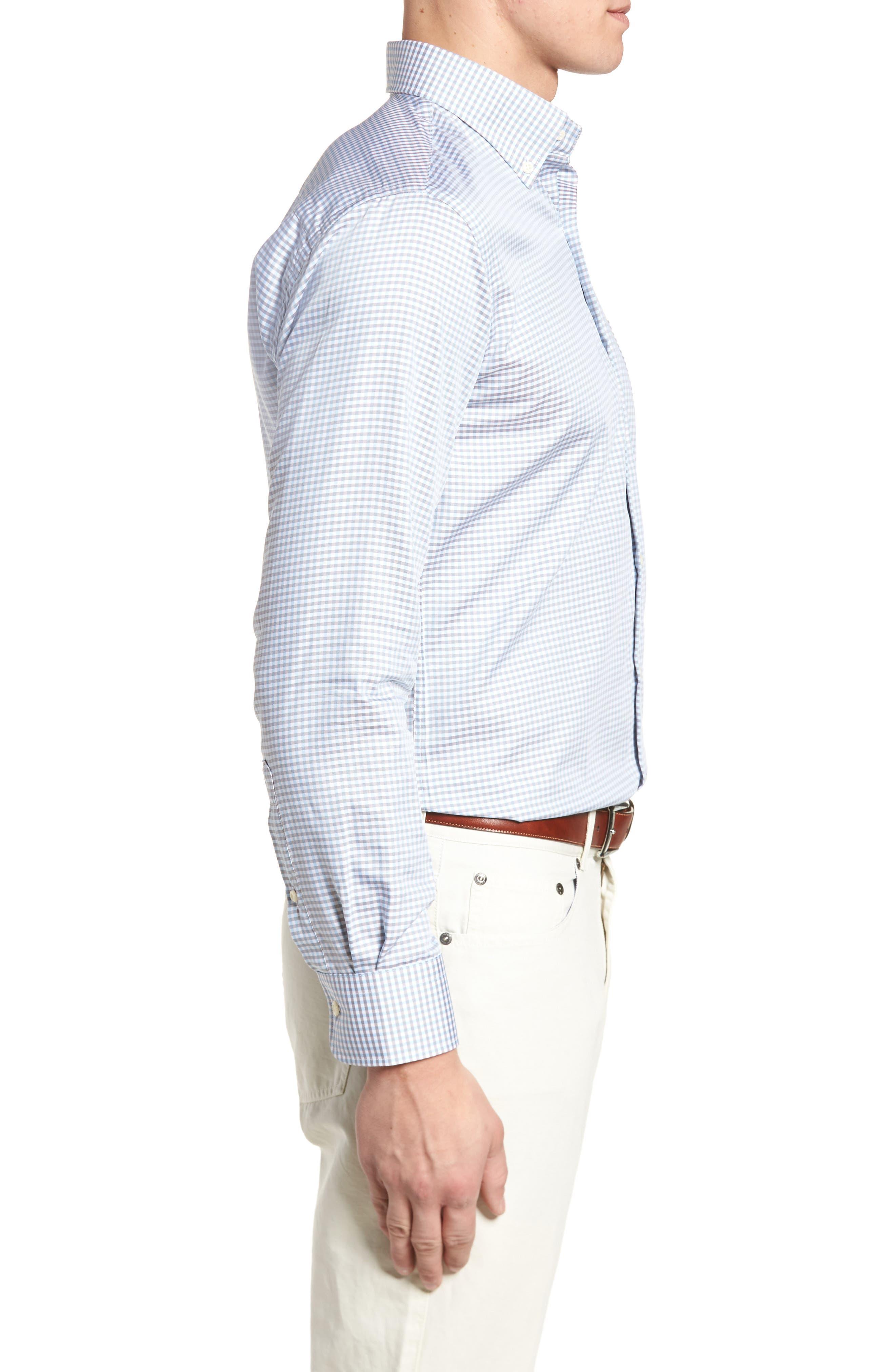 PETER MILLAR, Crown Regular Fit Mini Check Sport Shirt, Alternate thumbnail 3, color, TAR HEEL BLUE