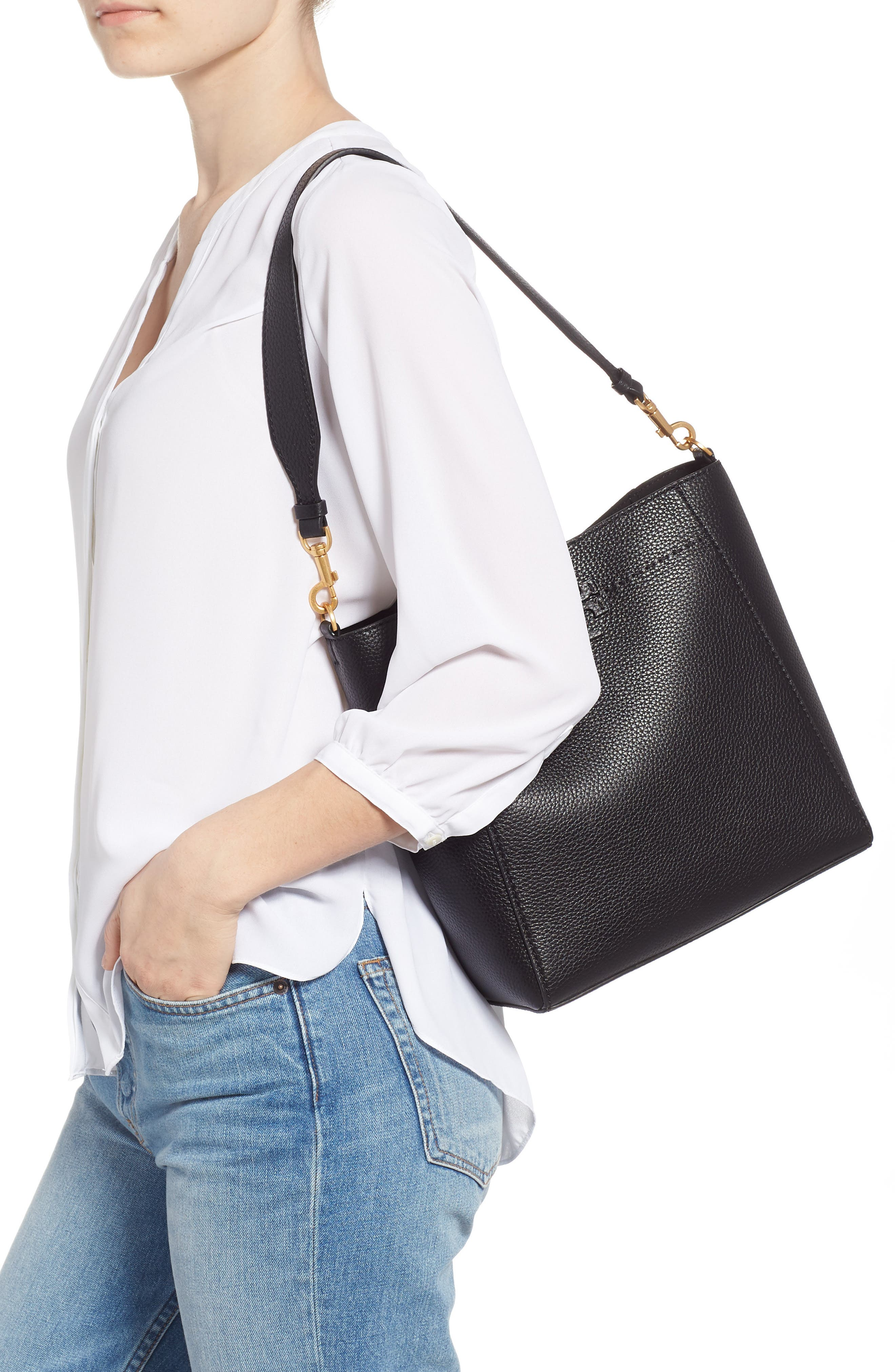 TORY BURCH, McGraw Leather Hobo, Alternate thumbnail 2, color, BLACK