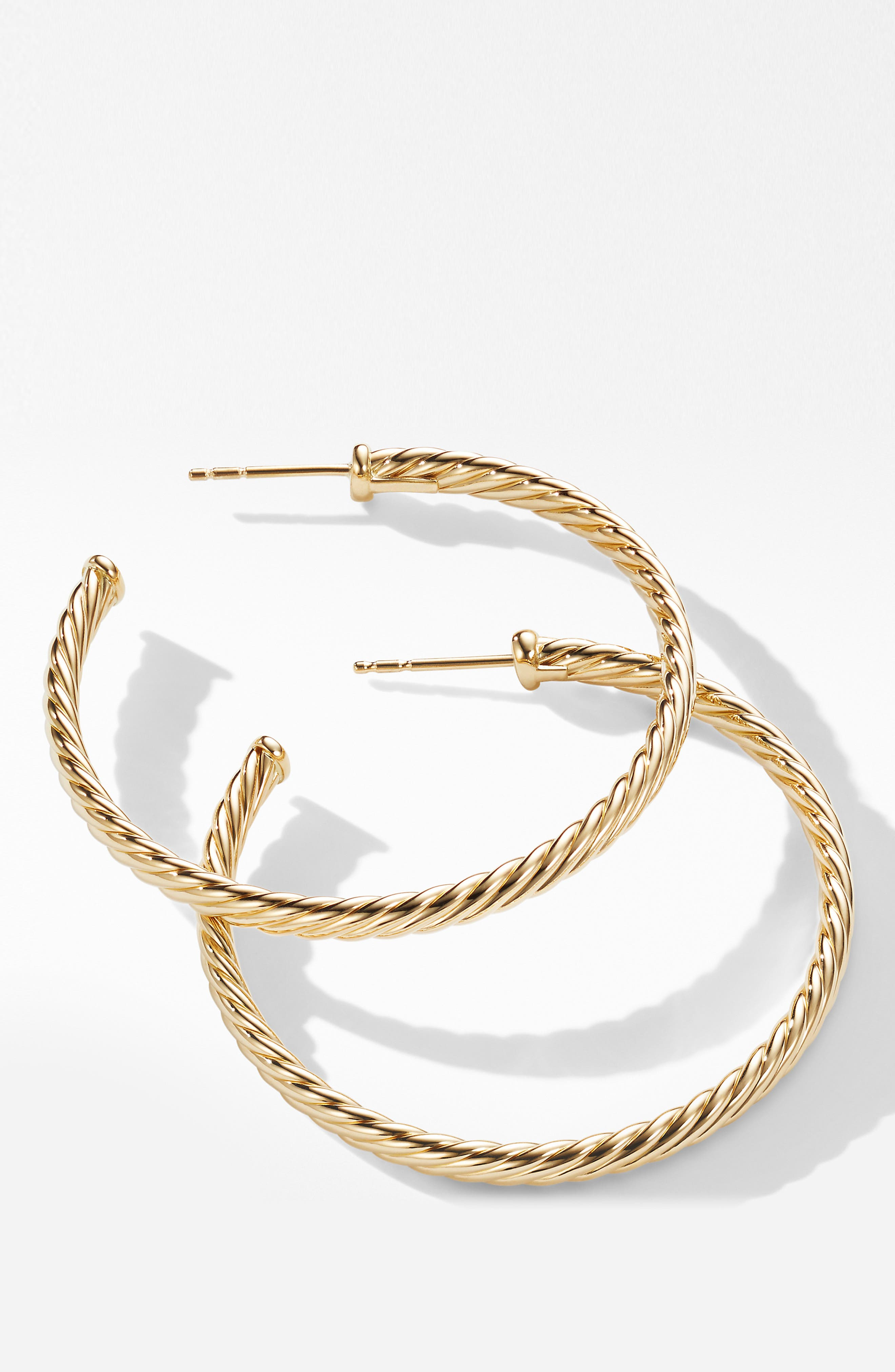 DAVID YURMAN, Cable Spiral Hoop Earrings, Alternate thumbnail 2, color, GOLD