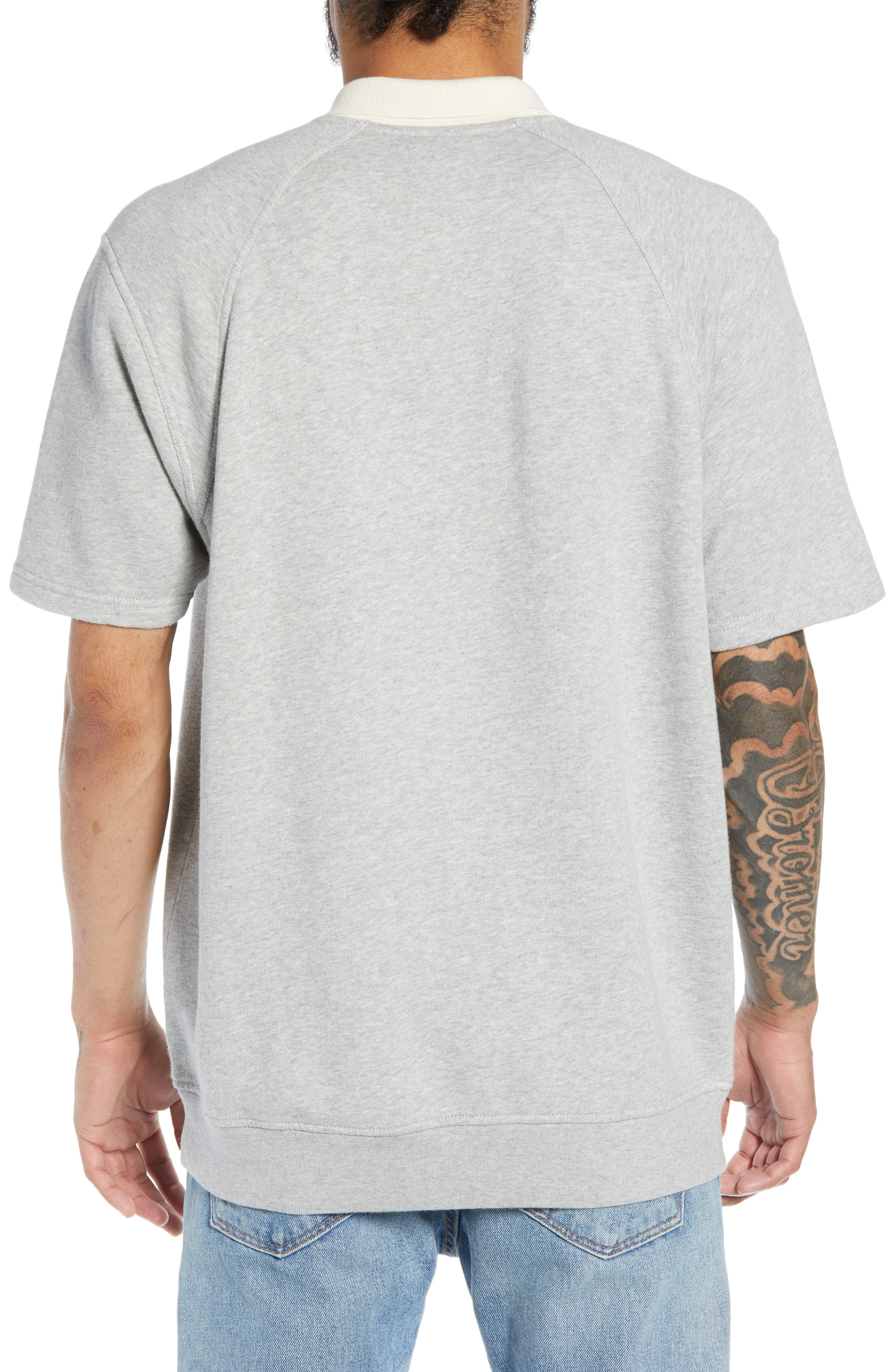 THE RAIL, Short Sleeve Rugby Shirt, Alternate thumbnail 2, color, GREY ASH HEATHER