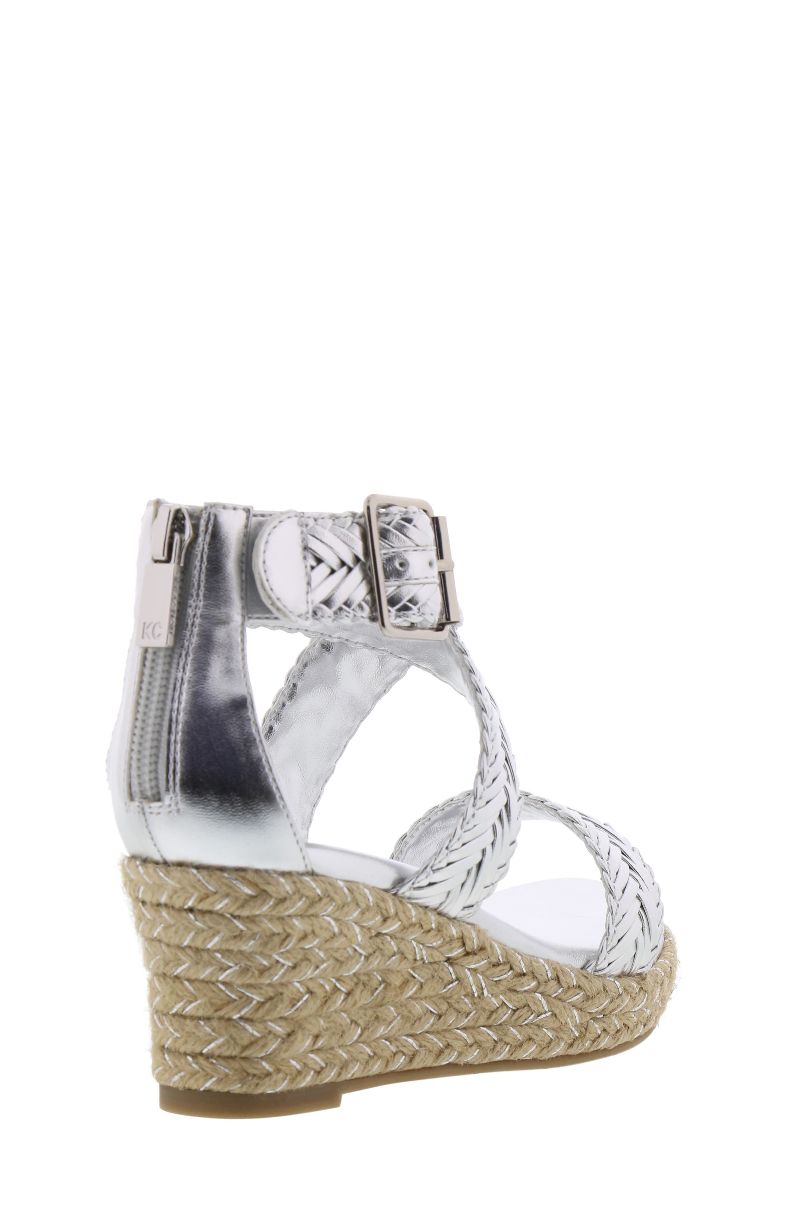 REACTION KENNETH COLE, Reed Sway Metallic Wedge Sandal, Alternate thumbnail 2, color, SILVER