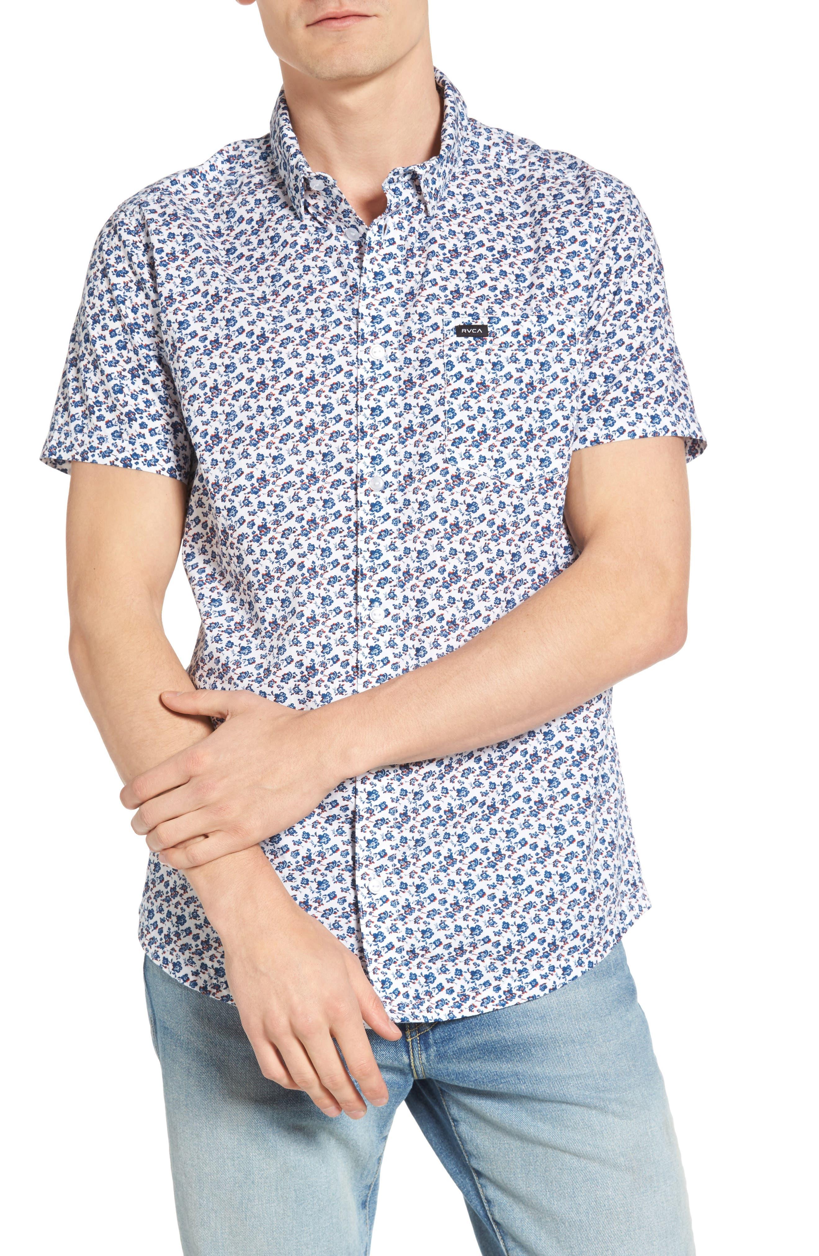 RVCA, Print Woven Shirt, Main thumbnail 1, color, ANTIQUE WHITE