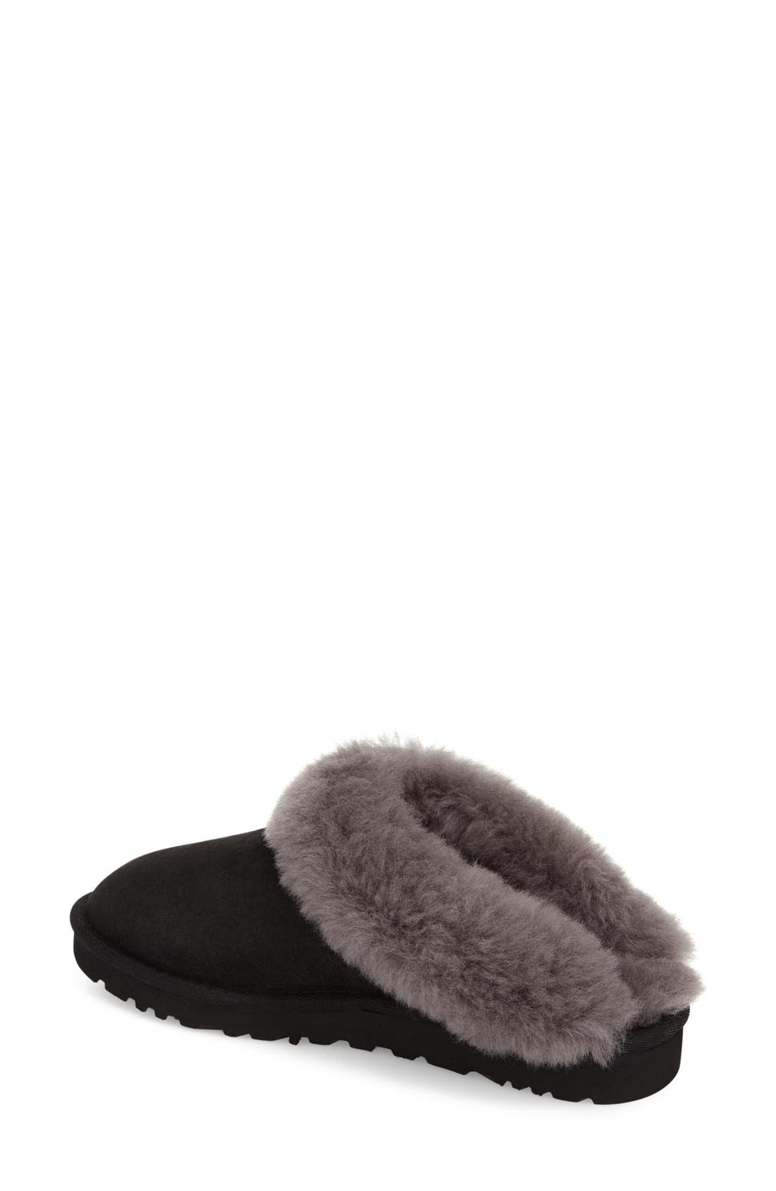 UGG<SUP>®</SUP>, 'Cluggette' Genuine Shearling Indoor/Outdoor Slipper, Alternate thumbnail 4, color, 001