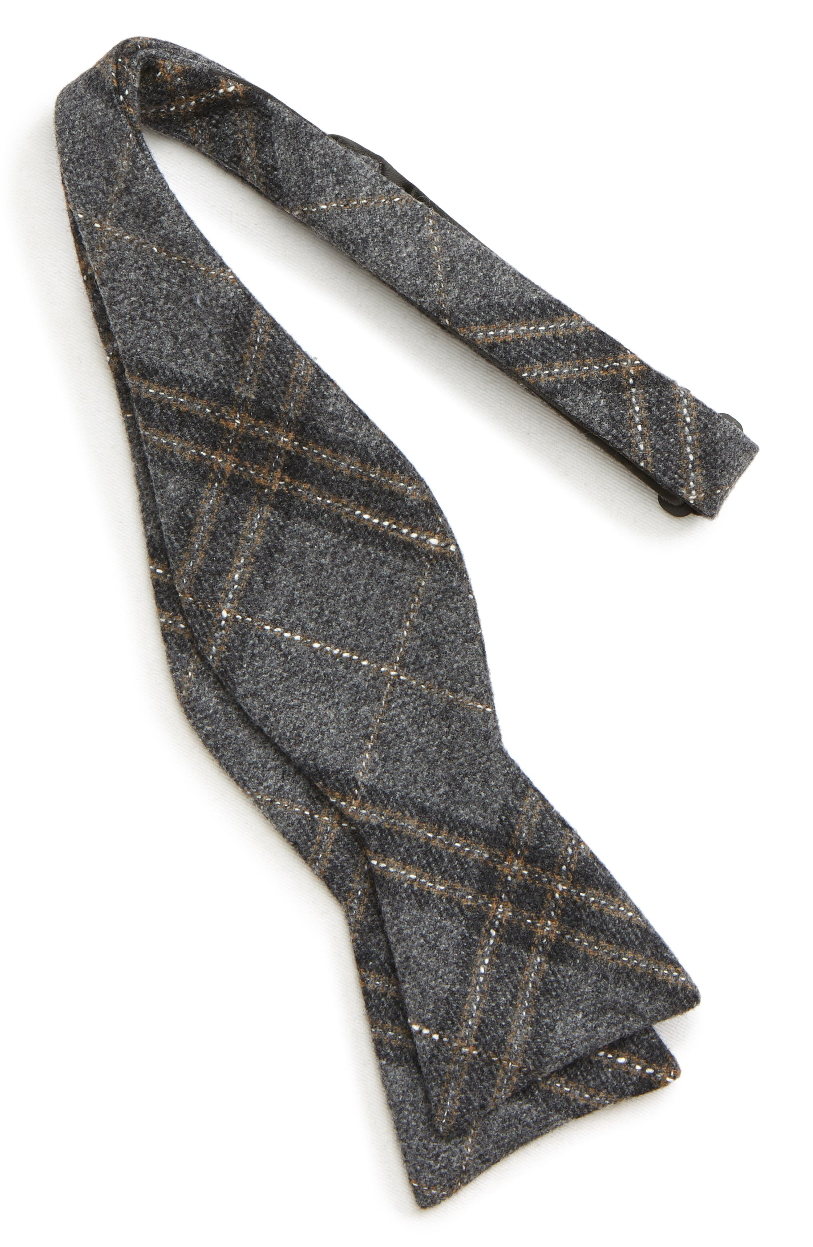 THE TIE BAR, Sotto Plaid Wool Blend Bow Tie, Alternate thumbnail 2, color, GREY
