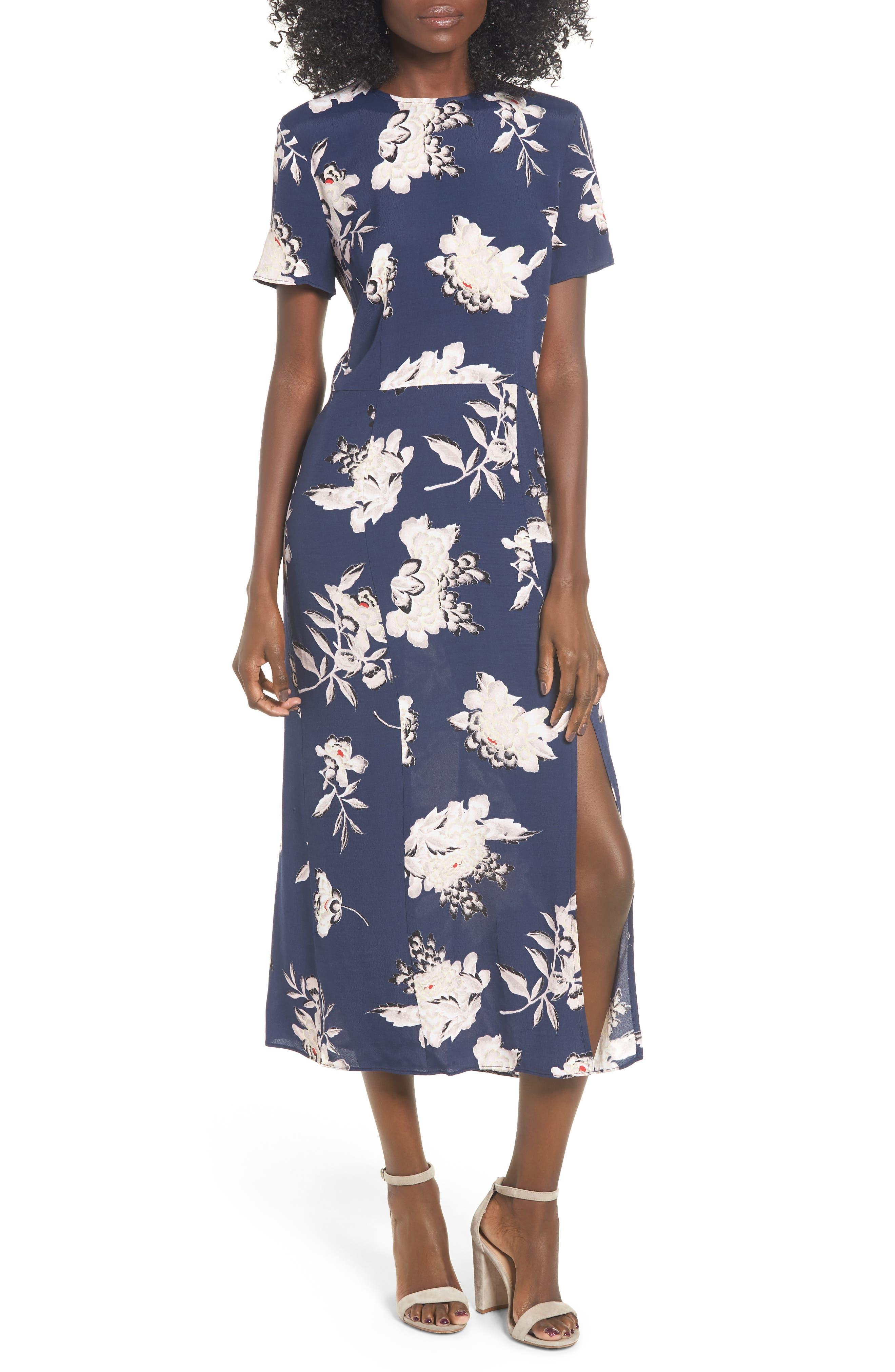 LEITH, Print Midi Dress, Main thumbnail 1, color, NAVY PEACOAT KIMONO FLORAL