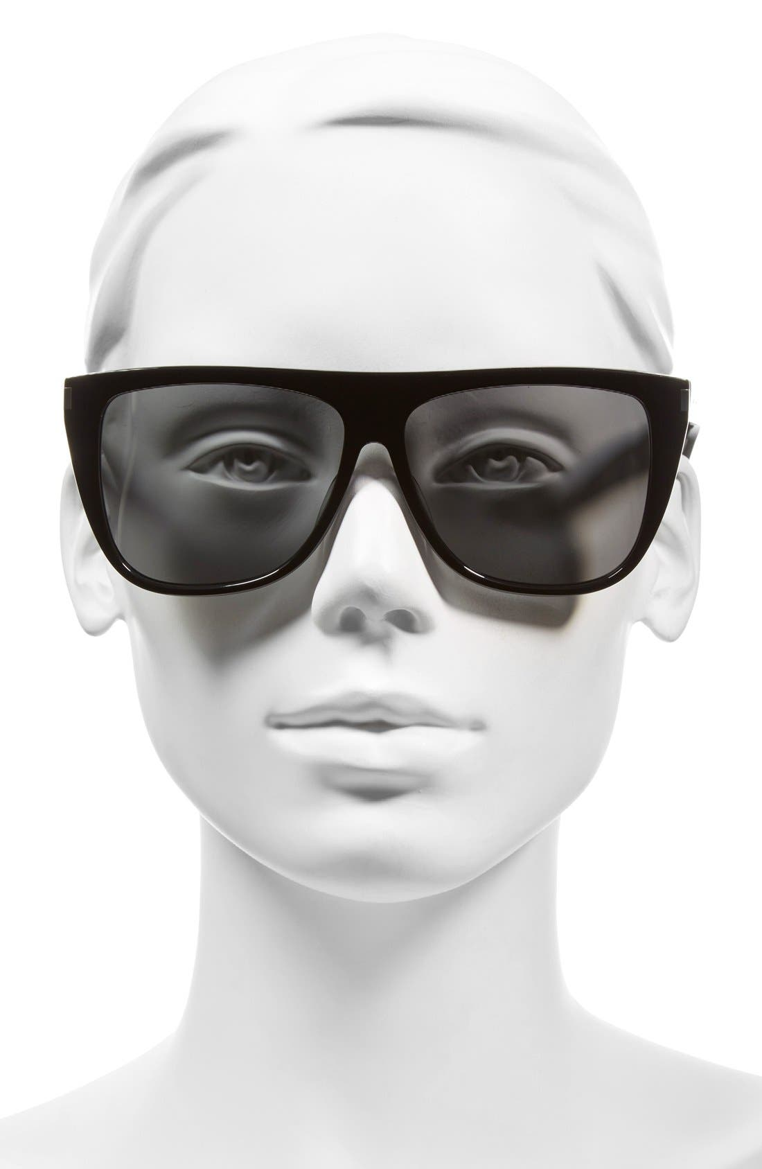 SAINT LAURENT, SL1 59mm Flat Top Sunglasses, Alternate thumbnail 2, color, BLACK/ SILVER