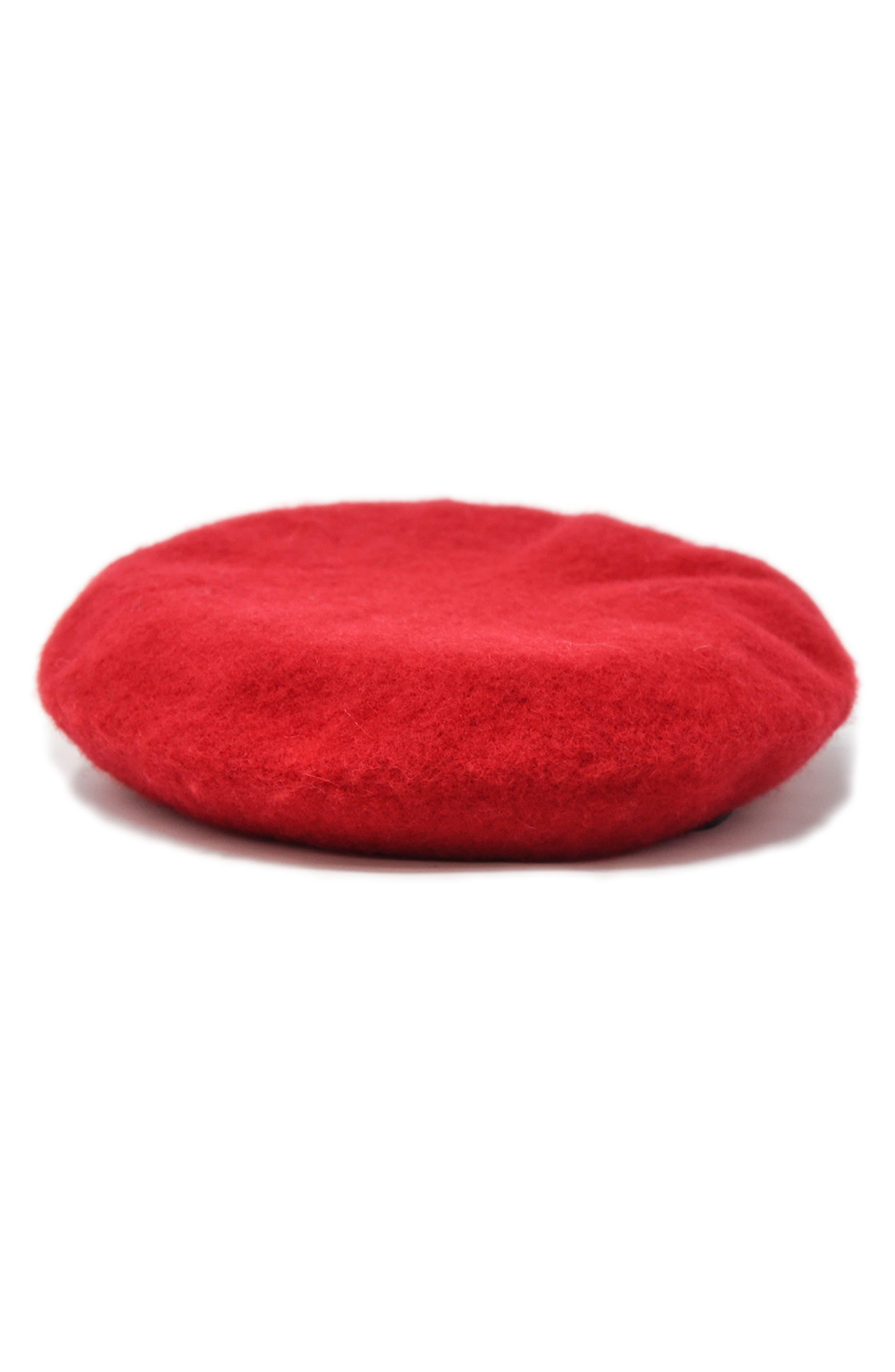 NOAKE Sylvie Wool Beret, Main, color, RED