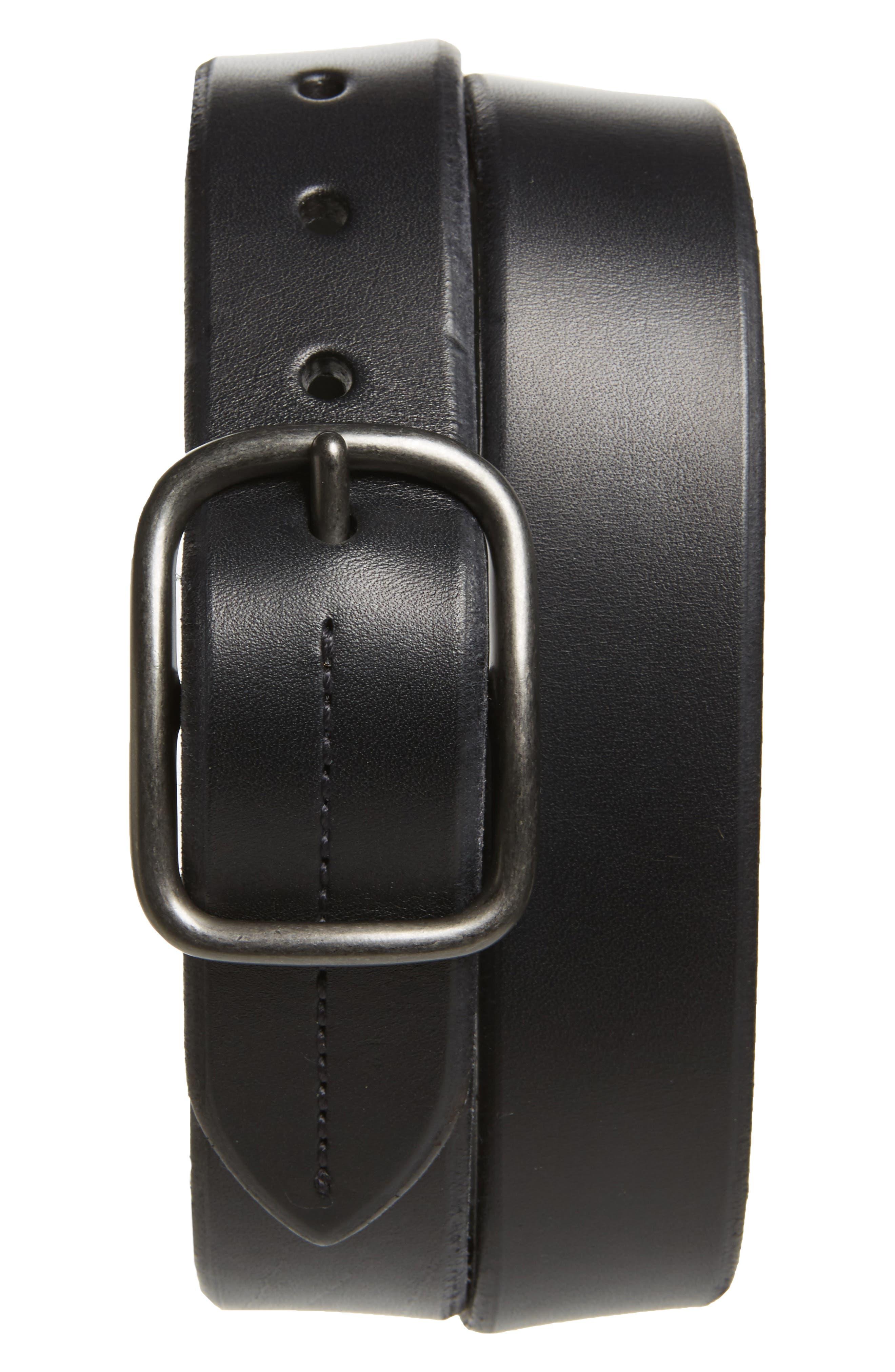 SHINOLA Leather Belt, Main, color, BLACK