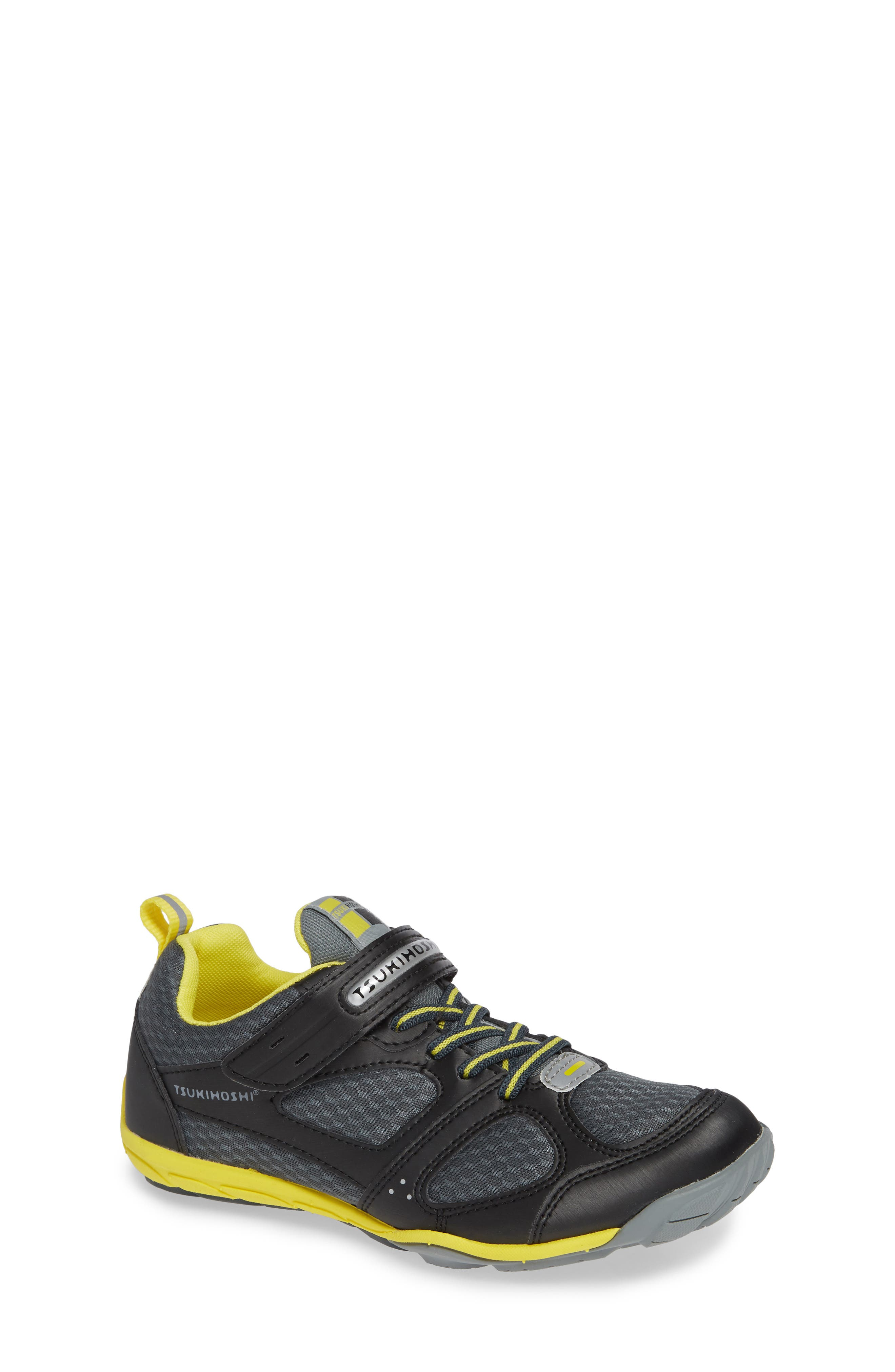 TSUKIHOSHI Mako Washable Sneaker, Main, color, BLACK/ YELLOW