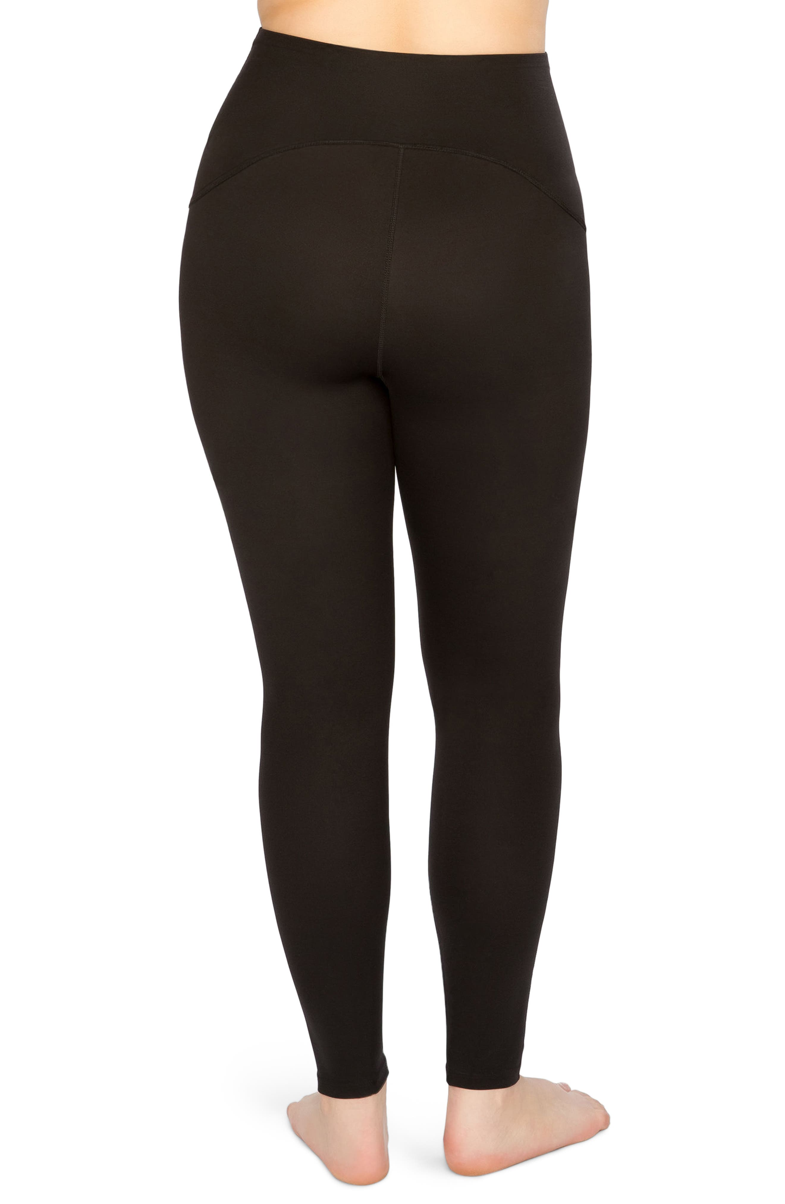 SPANX<SUP>®</SUP>, Active Leggings, Alternate thumbnail 2, color, BLACK