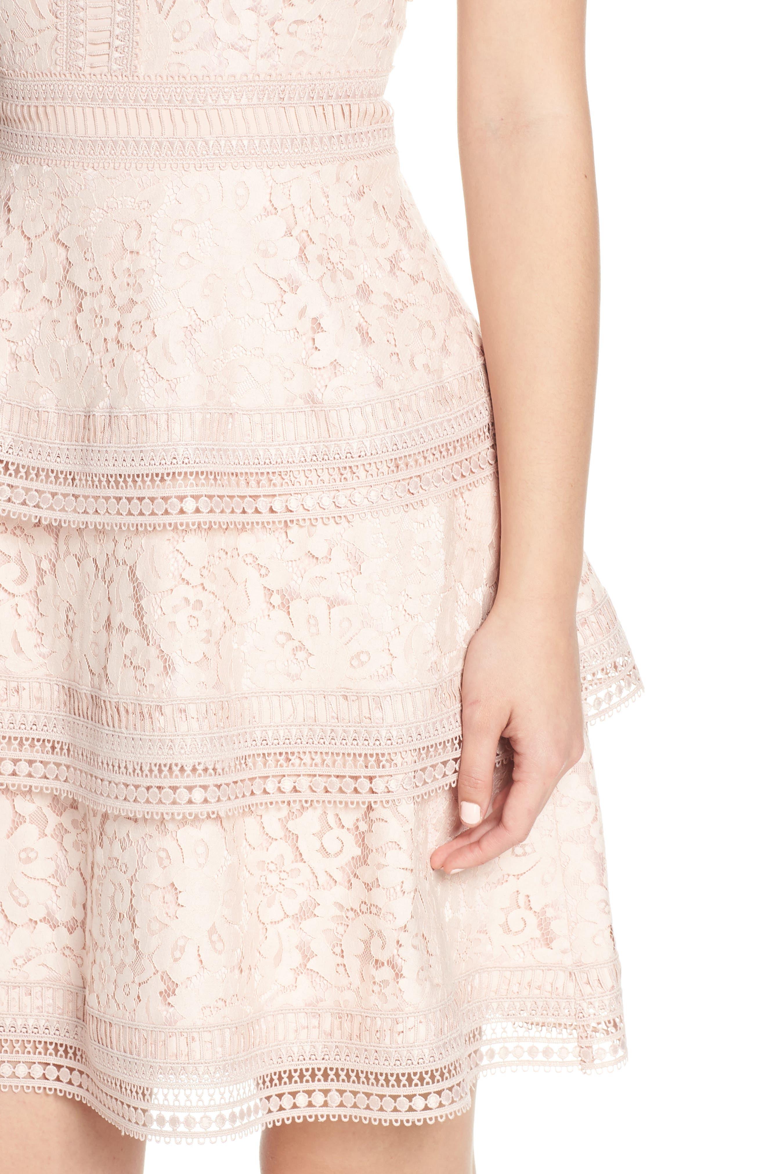 ELIZA J, Lace Fit & Flare Dress, Alternate thumbnail 5, color, BLUSH