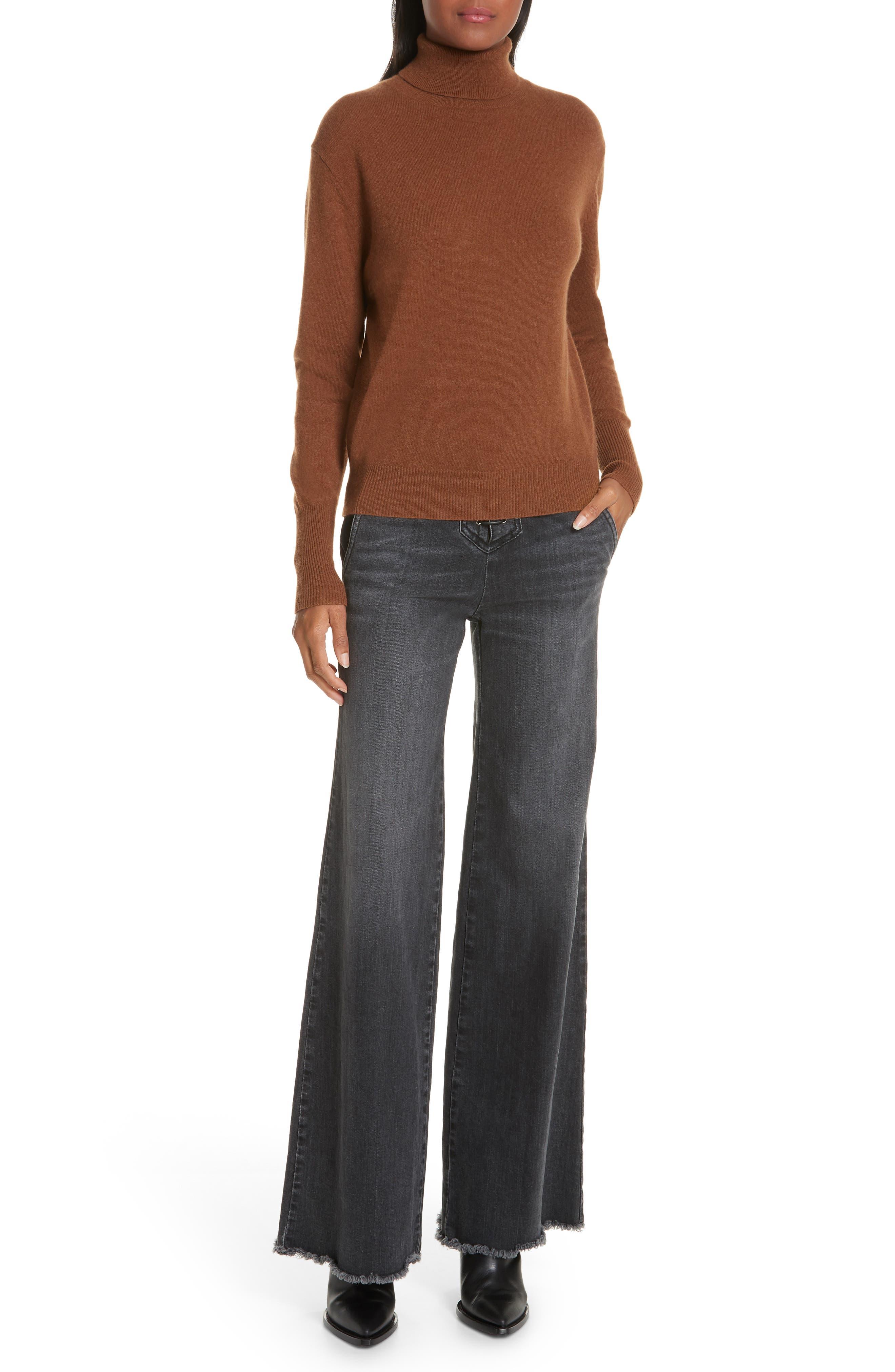 NILI LOTAN, Ralphie Cashmere Turtleneck Sweater, Alternate thumbnail 7, color, COGNAC