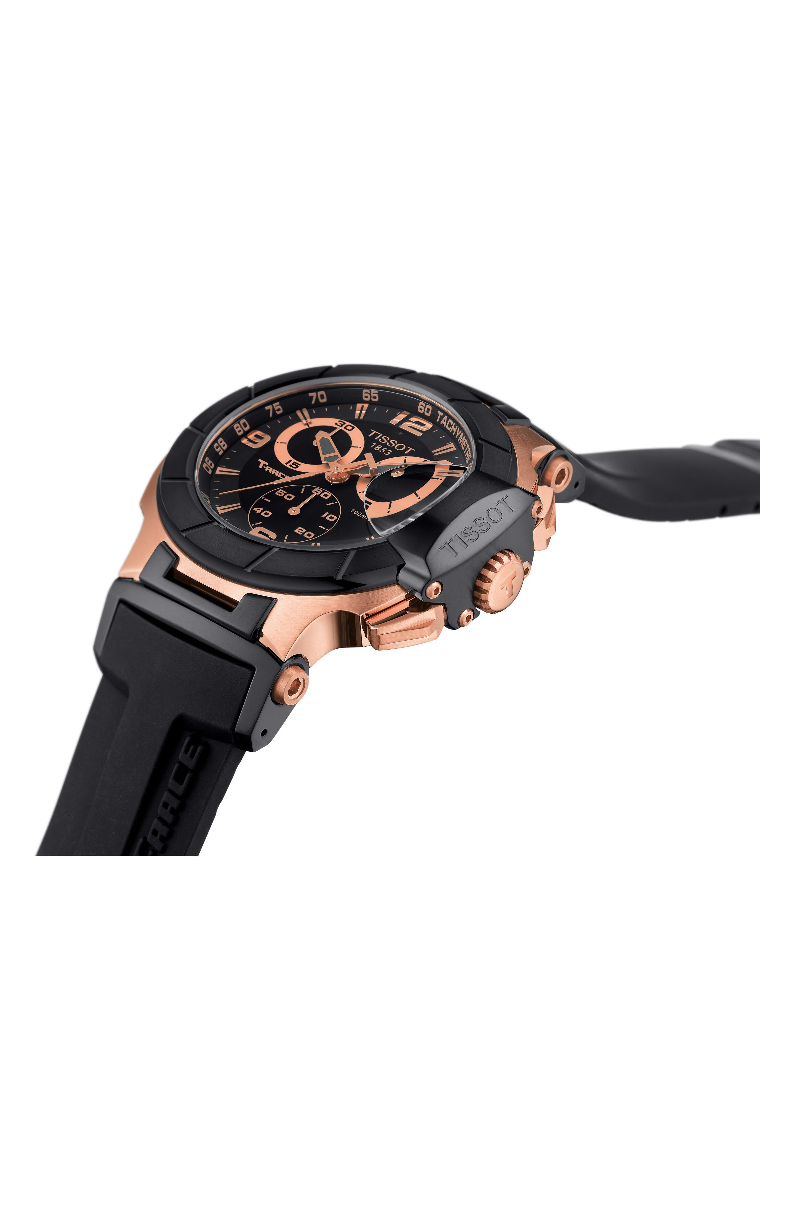 TISSOT, T-Race Chronograph Silicone Strap Watch, 50mm, Alternate thumbnail 3, color, BLACK/ ROSE GOLD