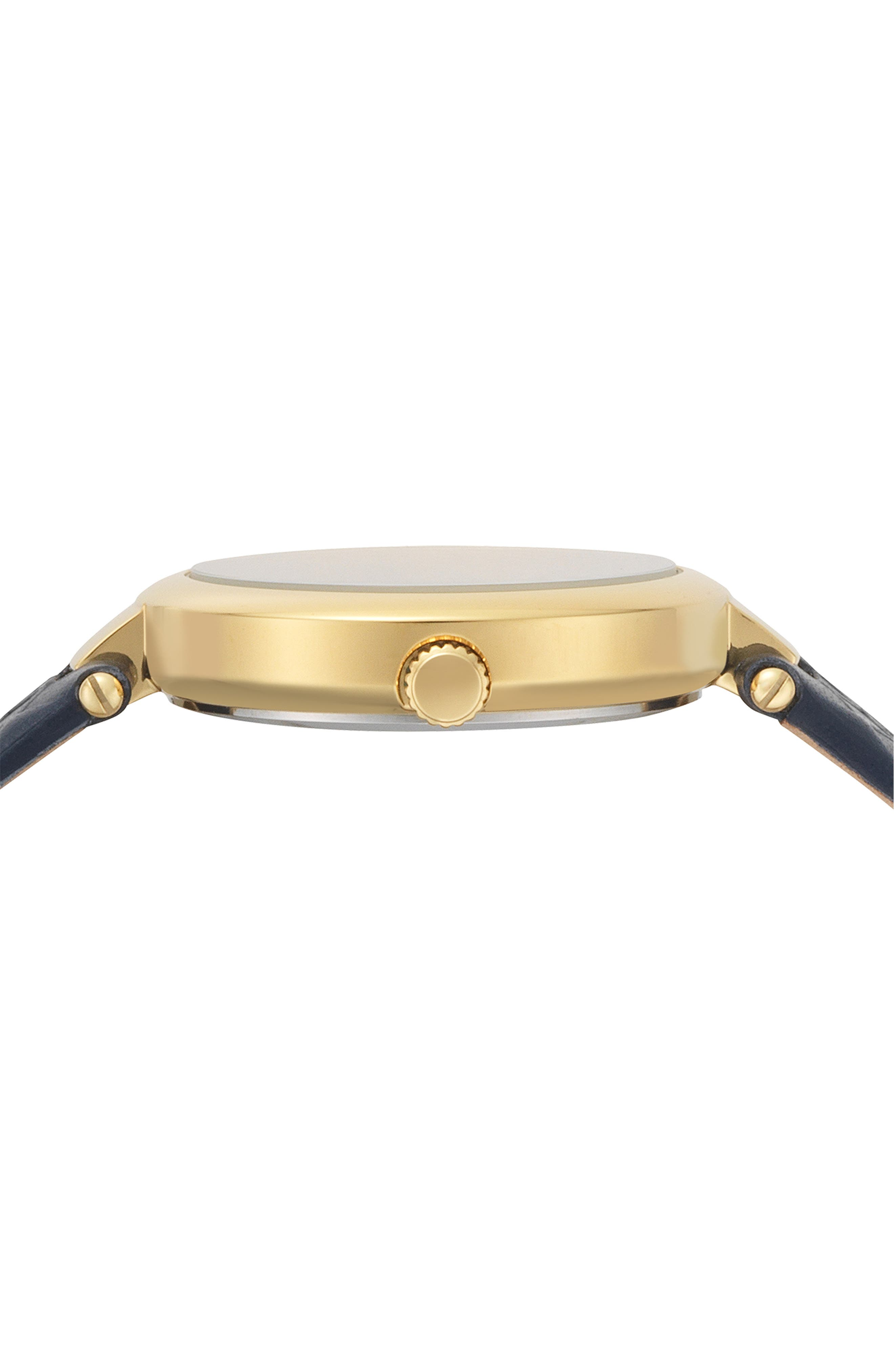 VERSUS VERSACE, Buffle Bay Leather Strap Watch, 36mm, Alternate thumbnail 2, color, BLUE/ GOLD