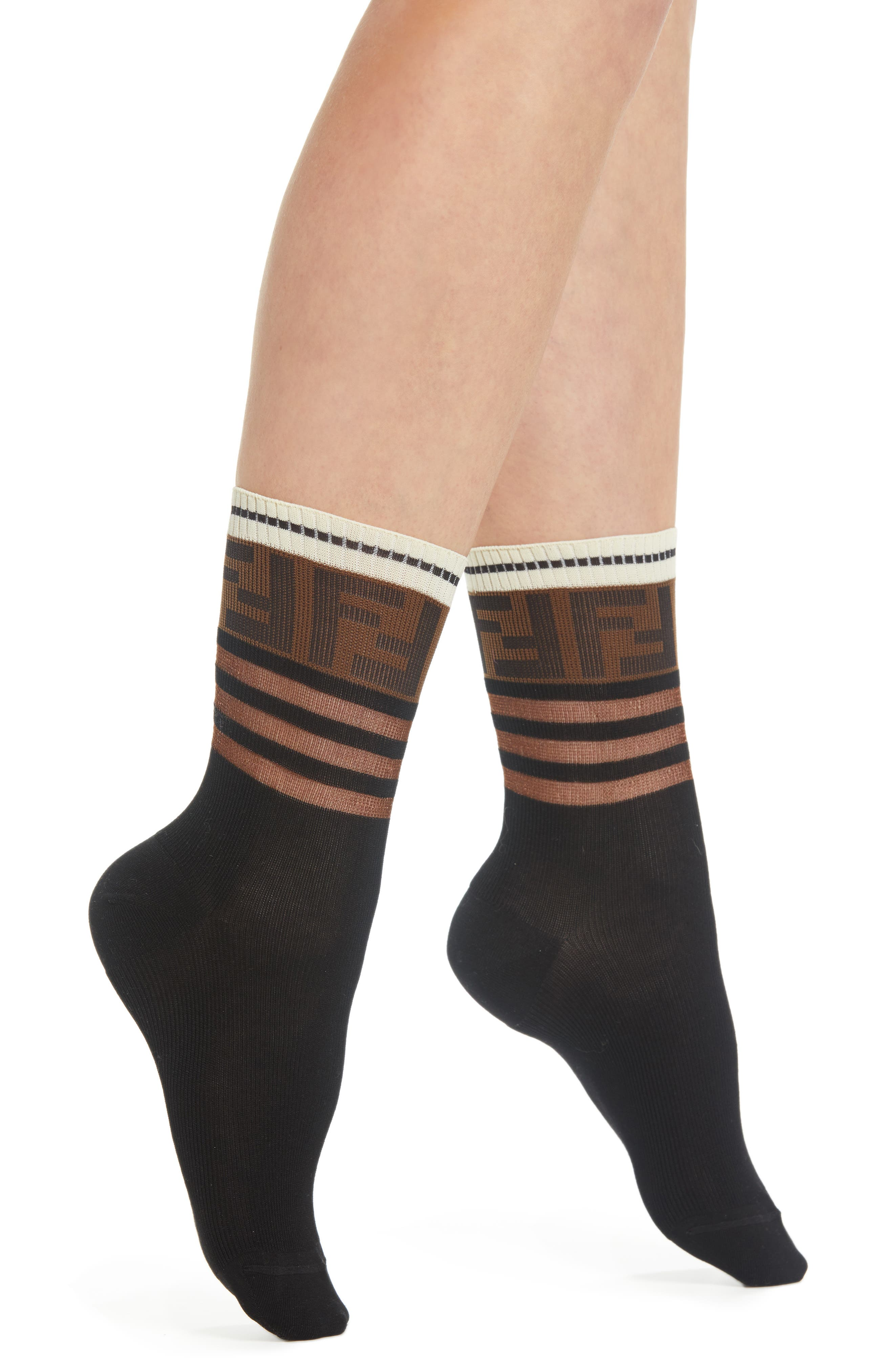 FENDI Touch of Double F Socks, Main, color, BLACK