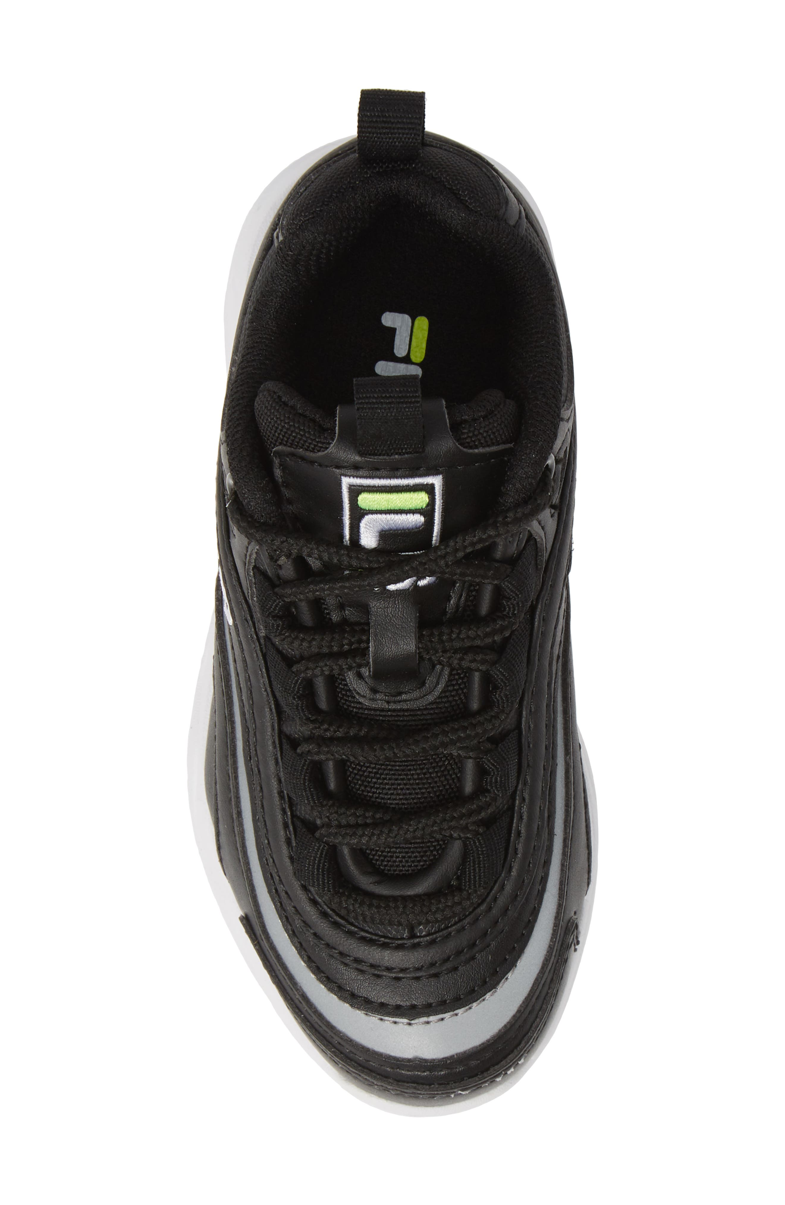 FILA, Ray Sneaker, Alternate thumbnail 5, color, BLACK/ SAFETY YELLOW/ SILVER