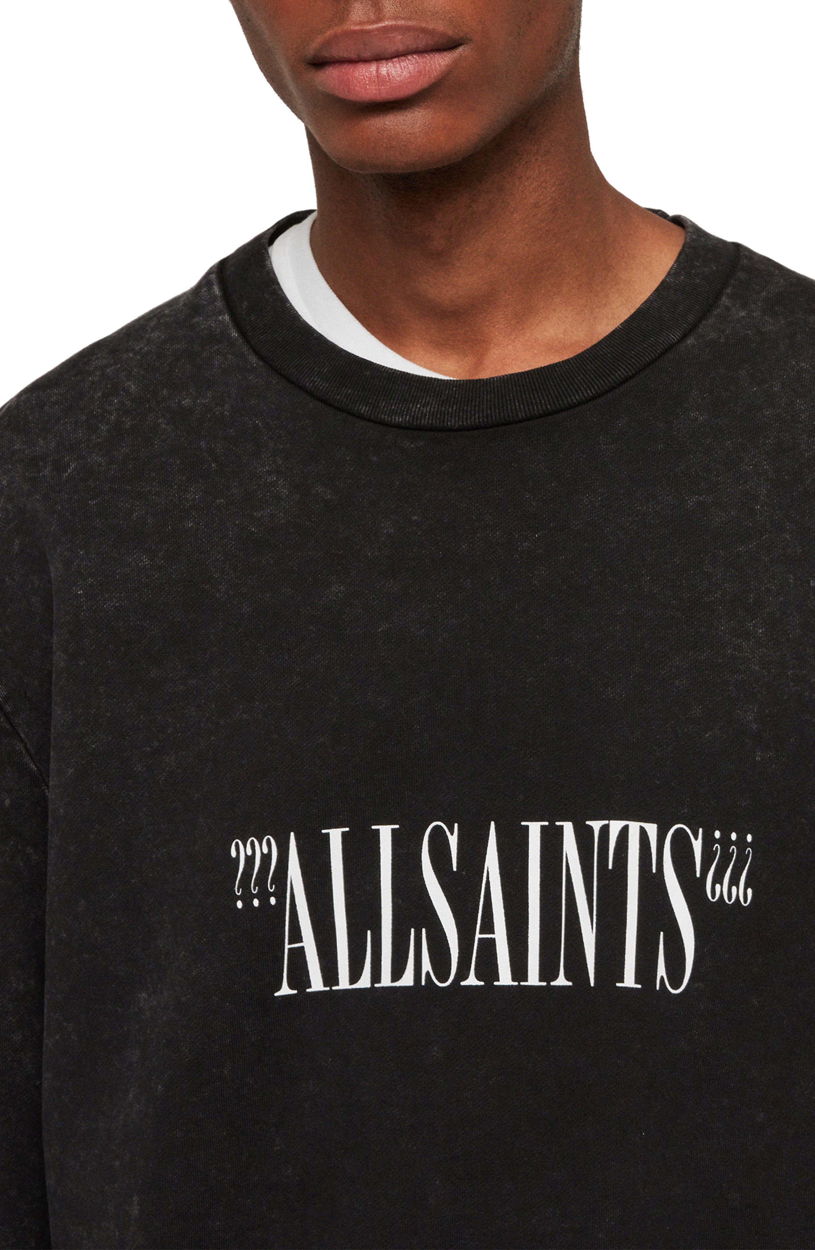 ALLSAINTS, Brackets Logo Graphic Fleece Sweatshirt, Alternate thumbnail 3, color, ACID WASHED BLACK