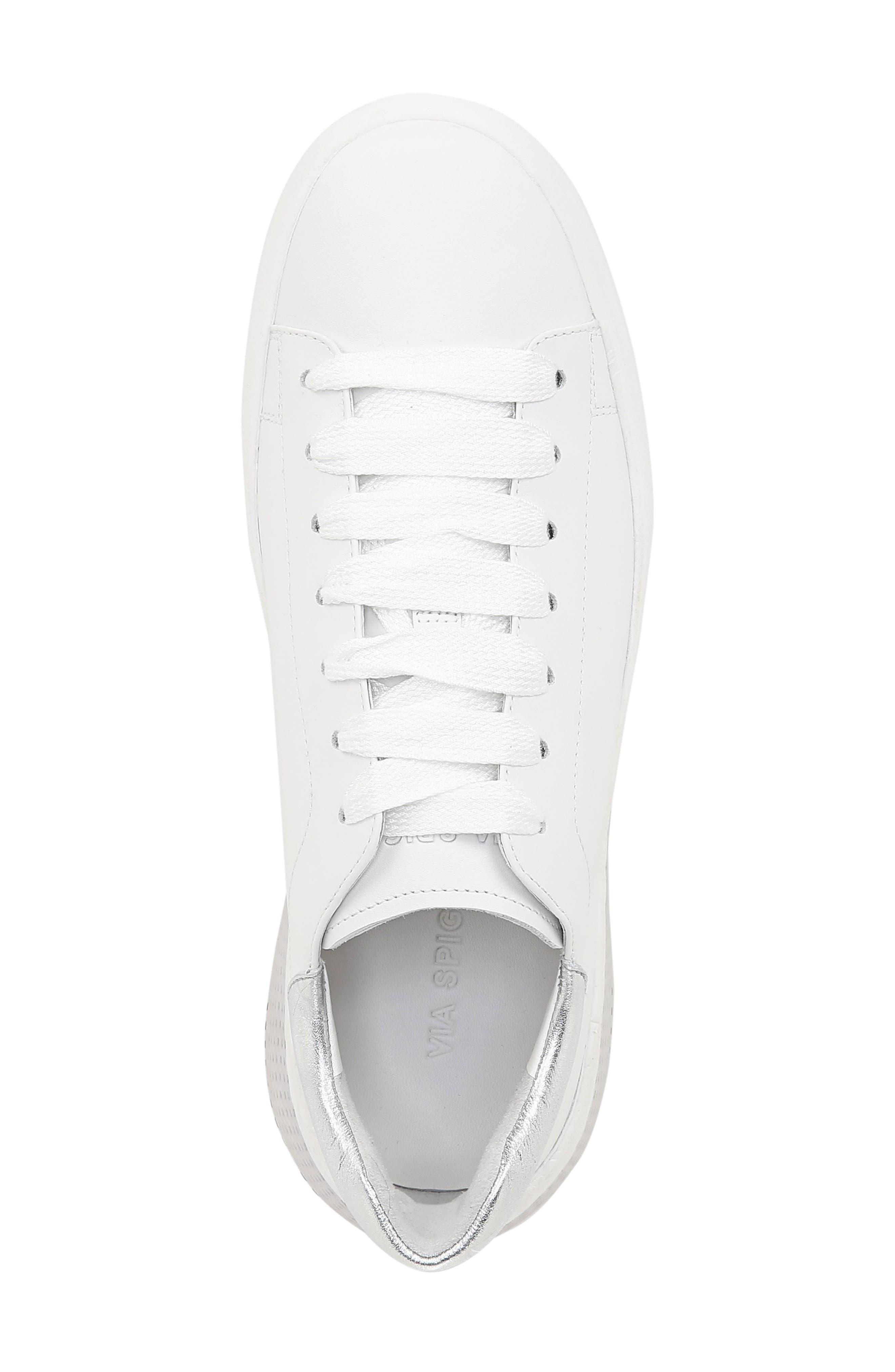 VIA SPIGA, Parrel Sneaker, Alternate thumbnail 5, color, PORCELAIN/ SILVER