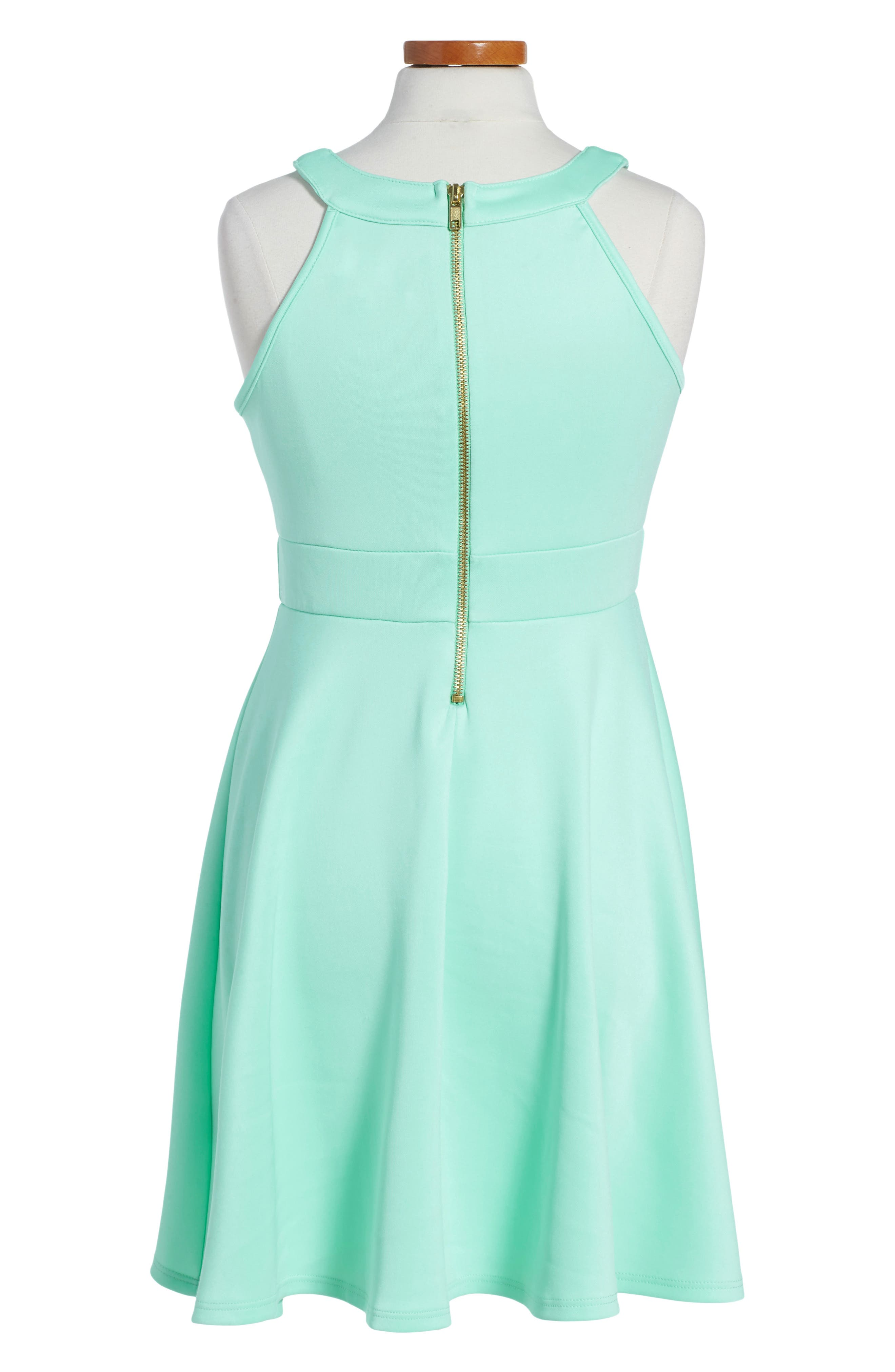LOVE, NICKIE LEW, Mesh Inset Party Dress, Alternate thumbnail 2, color, MINT
