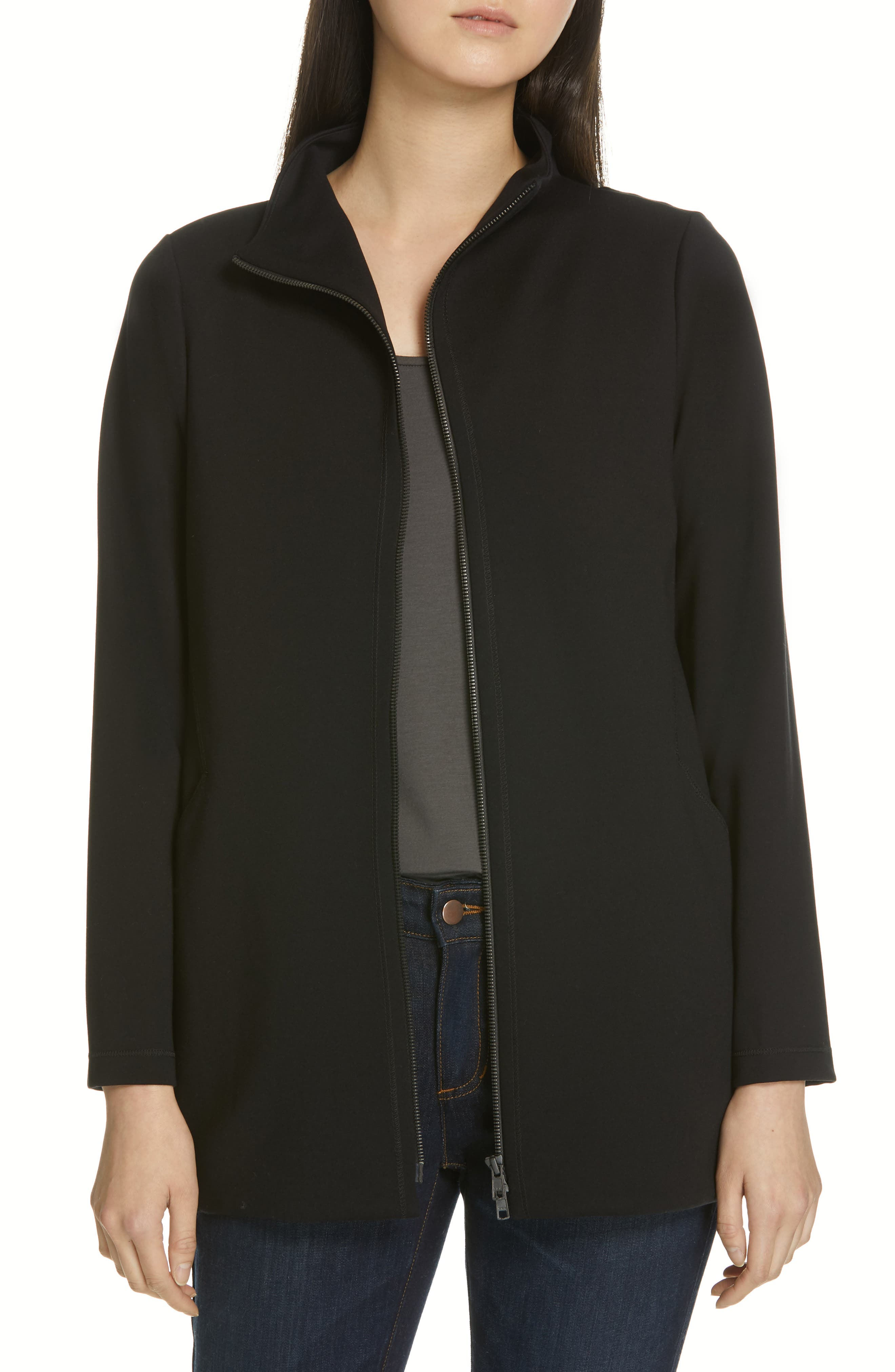 EILEEN FISHER, Zip Front Jacket, Main thumbnail 1, color, 001