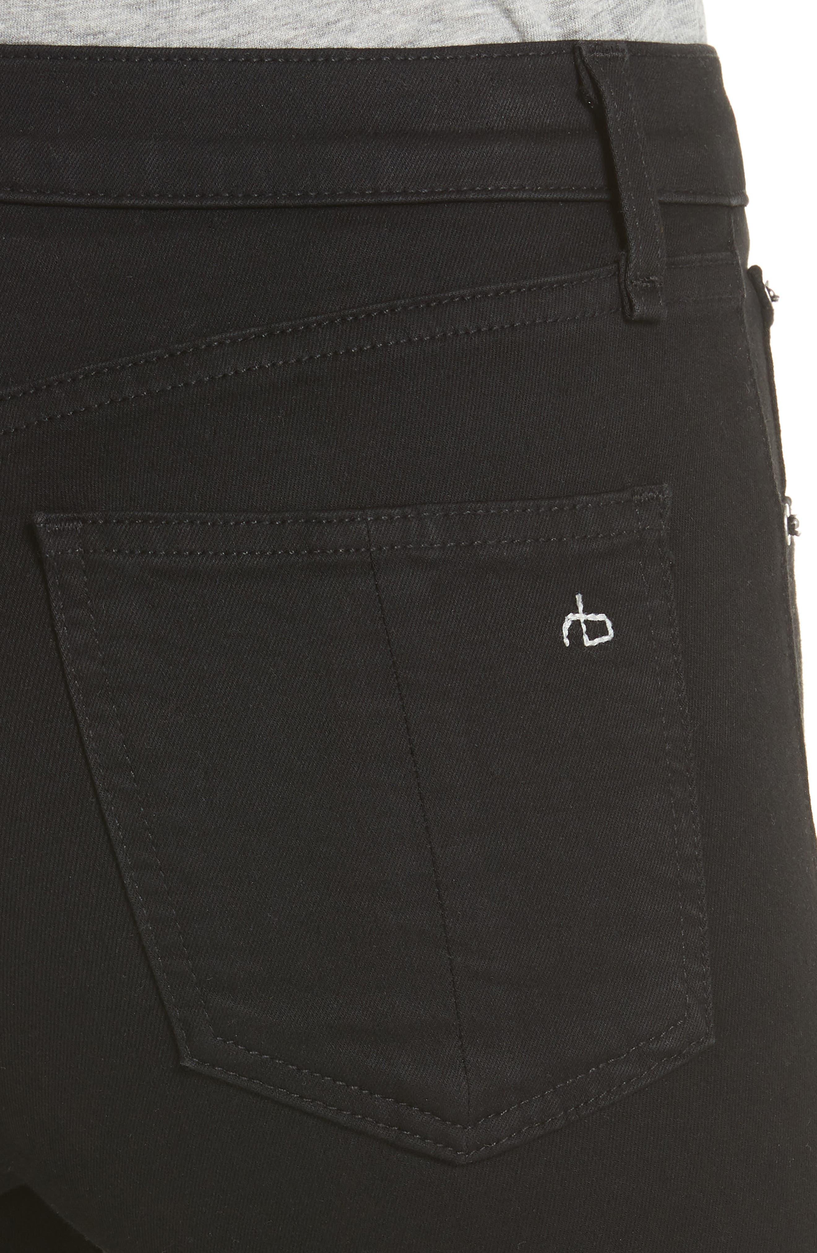 RAG & BONE, High Waist Ankle Skinny Jeans, Alternate thumbnail 5, color, BLACK