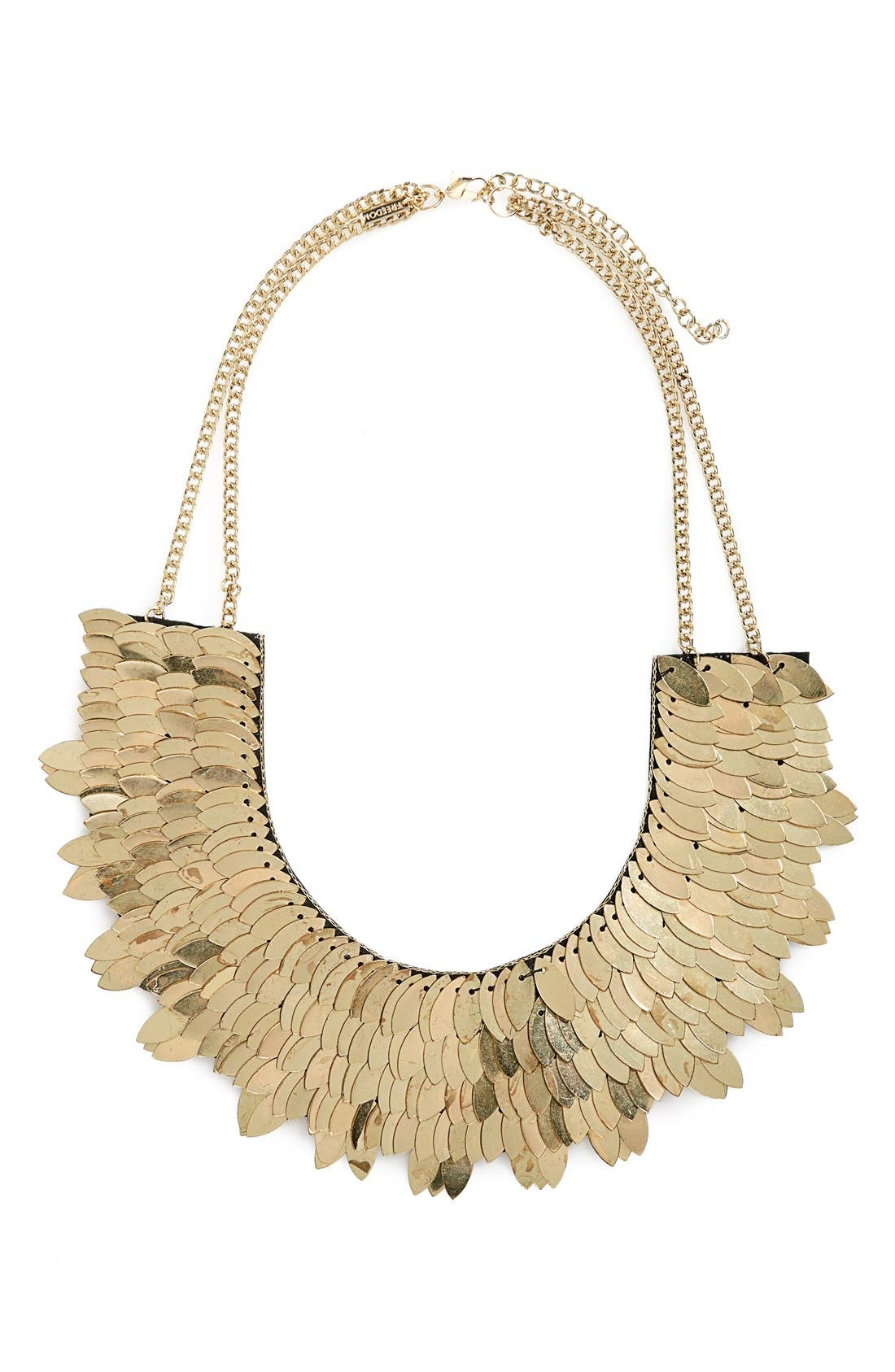 TOPSHOP, Metallic Leaf Necklace, Main thumbnail 1, color, 710