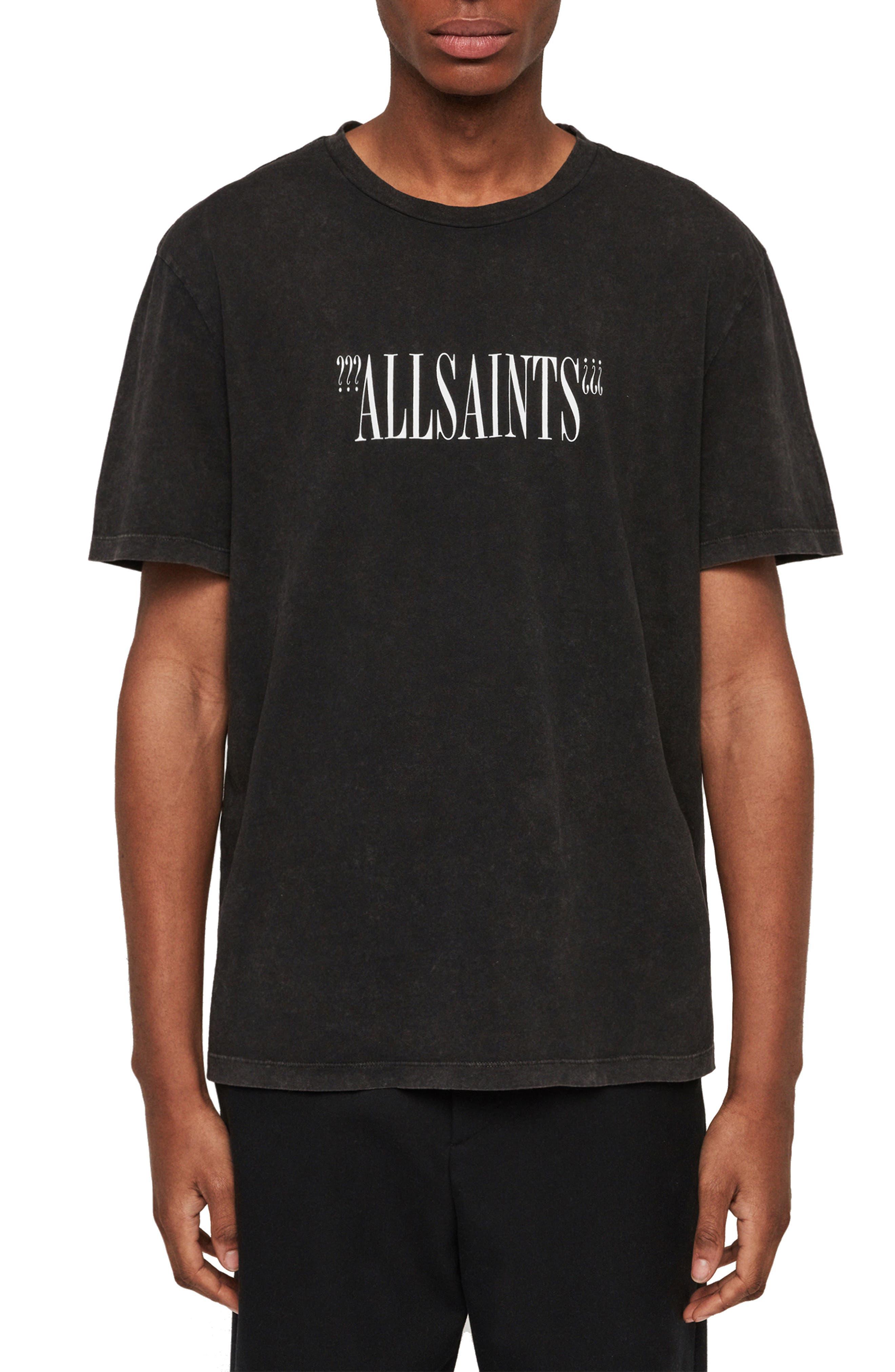 ALLSAINTS, Brackets Classic Fit Crewneck T-Shirt, Main thumbnail 1, color, ACID WASHED BLACK