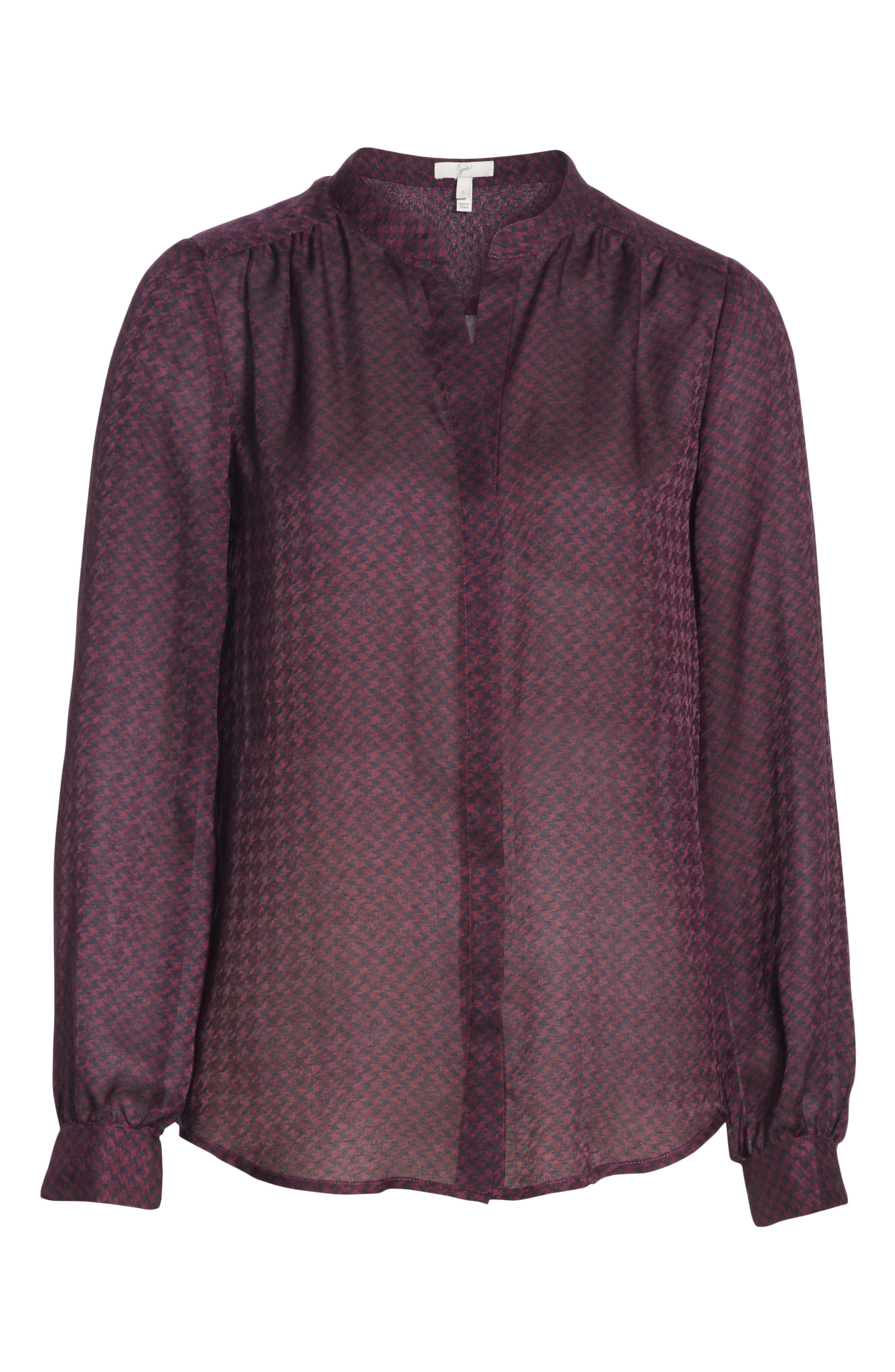 JOIE, Mintee Houndstooth Check Blouse, Alternate thumbnail 6, color, 501