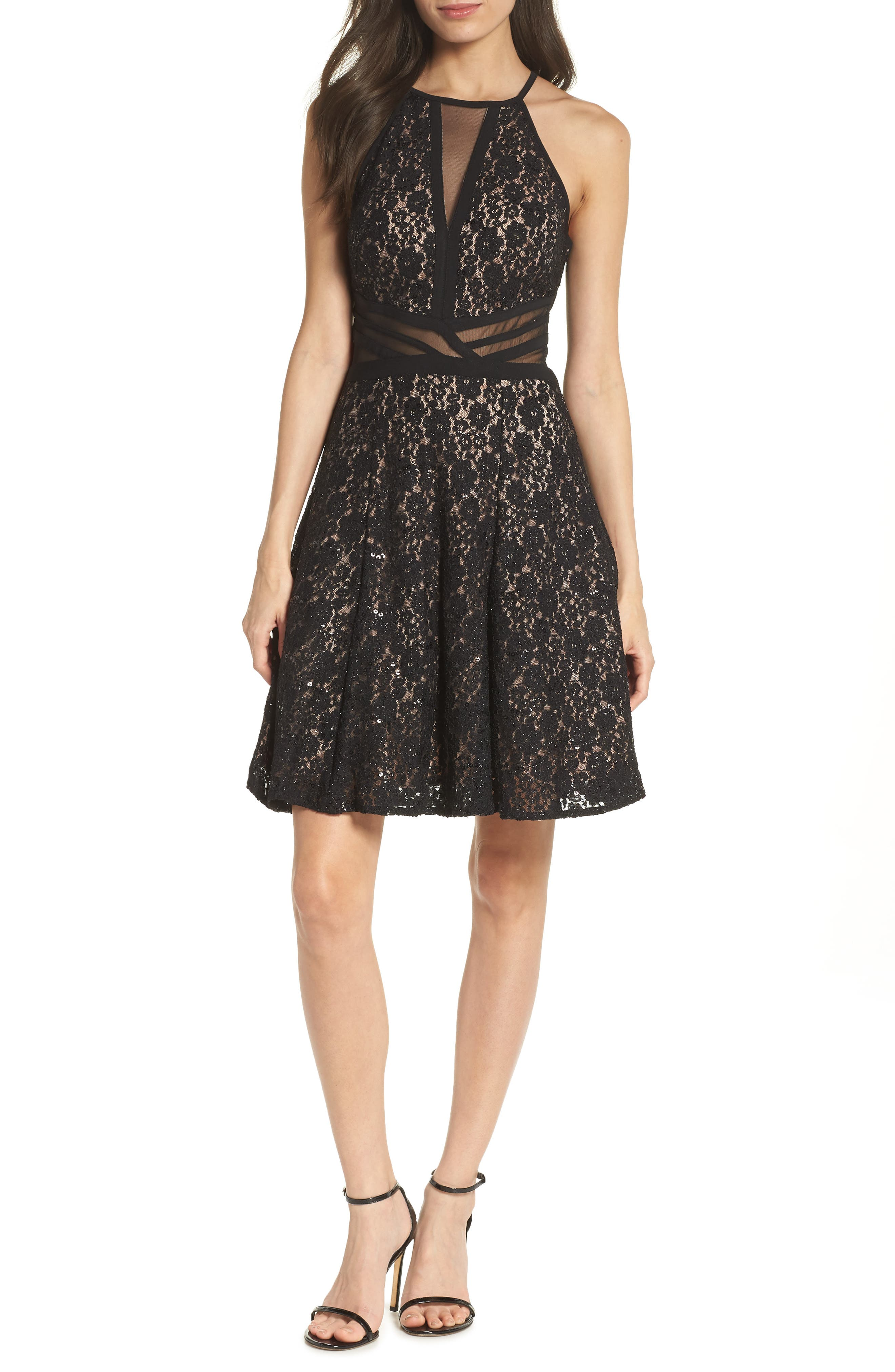 MORGAN & CO., Sheer Inset Lace Fit & Flare Dress, Main thumbnail 1, color, BLACK/ NUDE