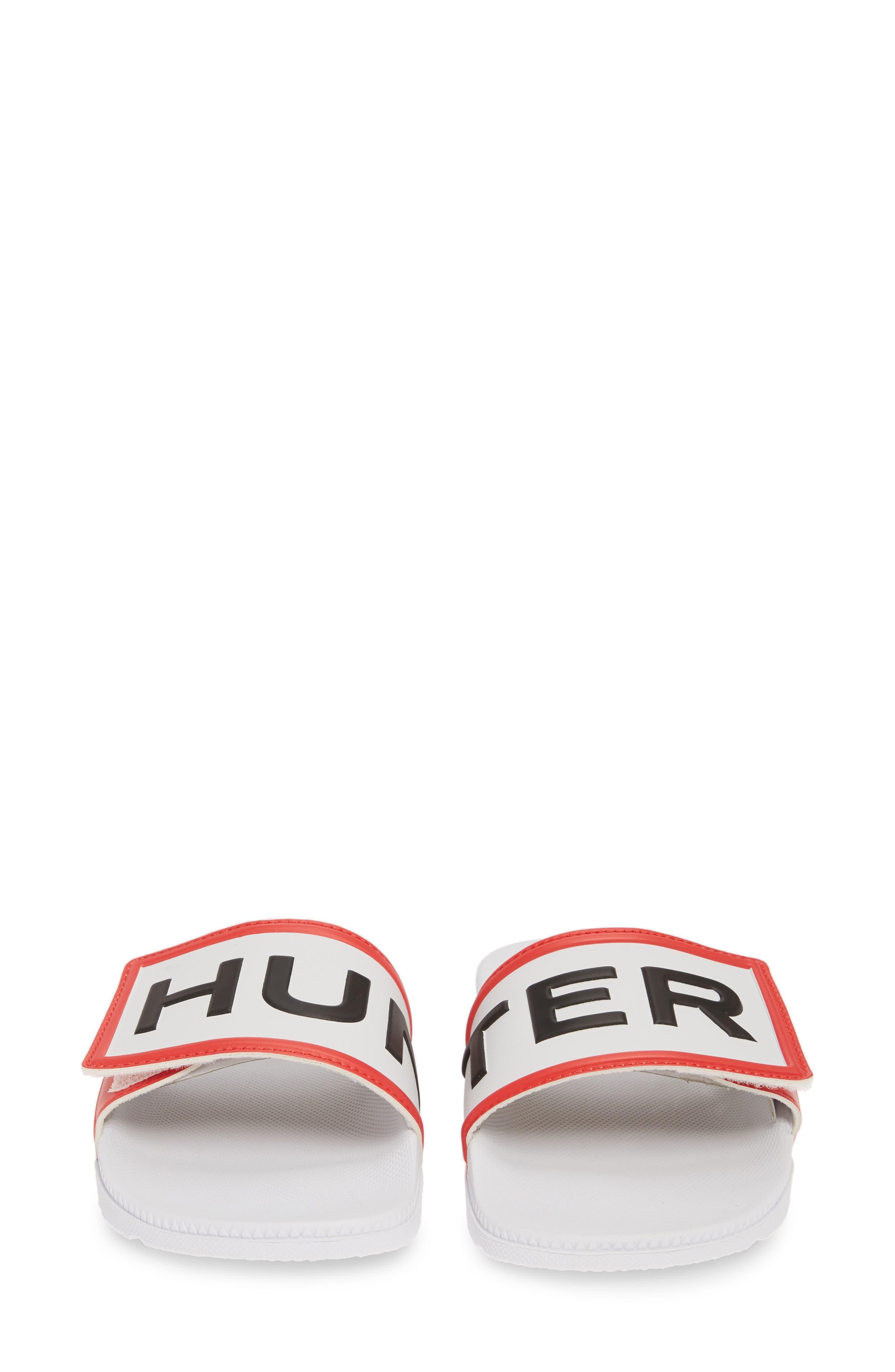 HUNTER, Original Adjustable Logo Slide Sandal, Alternate thumbnail 5, color, WHITE/ WHITE