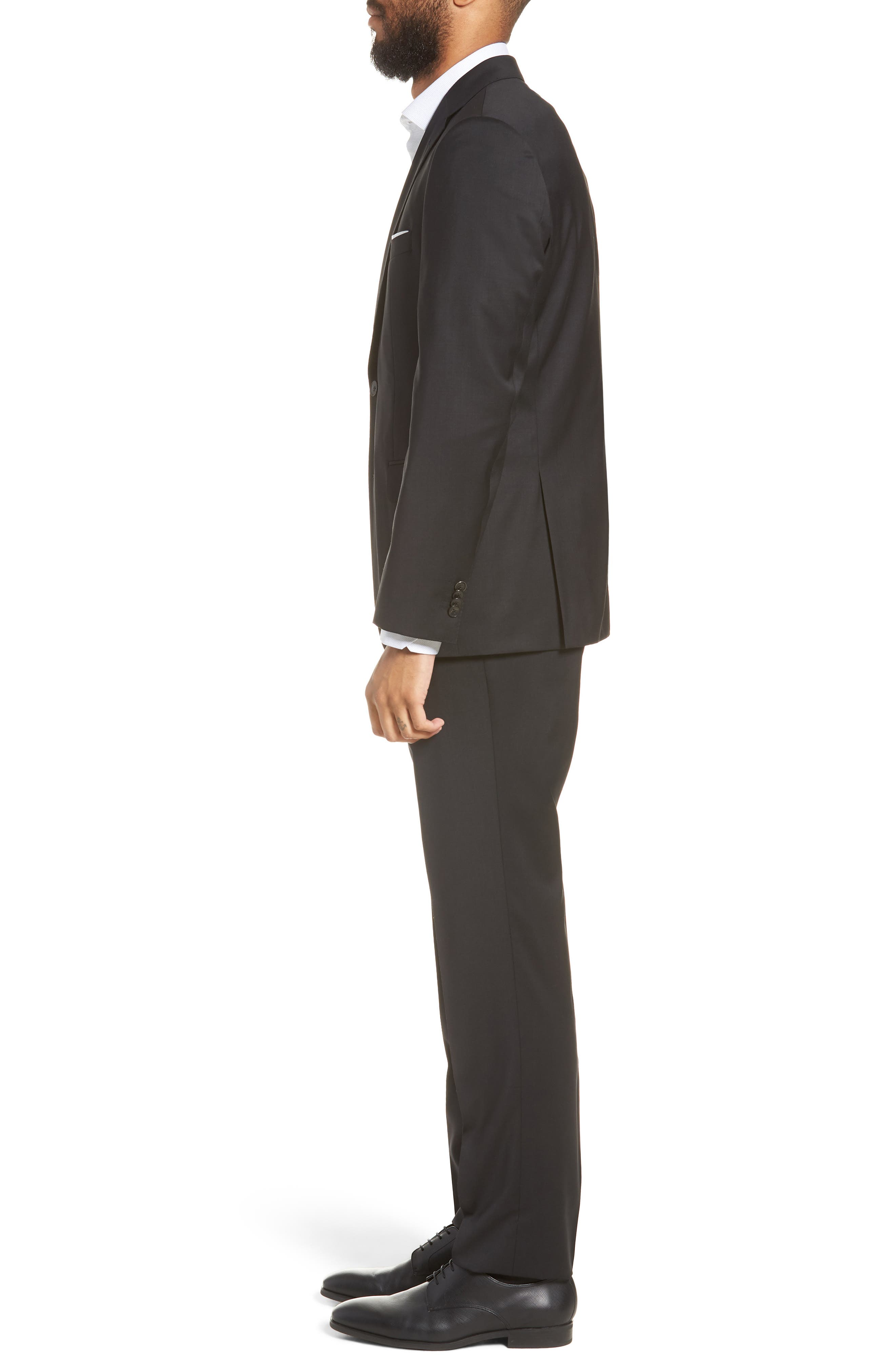 BOSS, Johnstons/Lenon Classic Fit Solid Wool Suit, Alternate thumbnail 3, color, BLACK