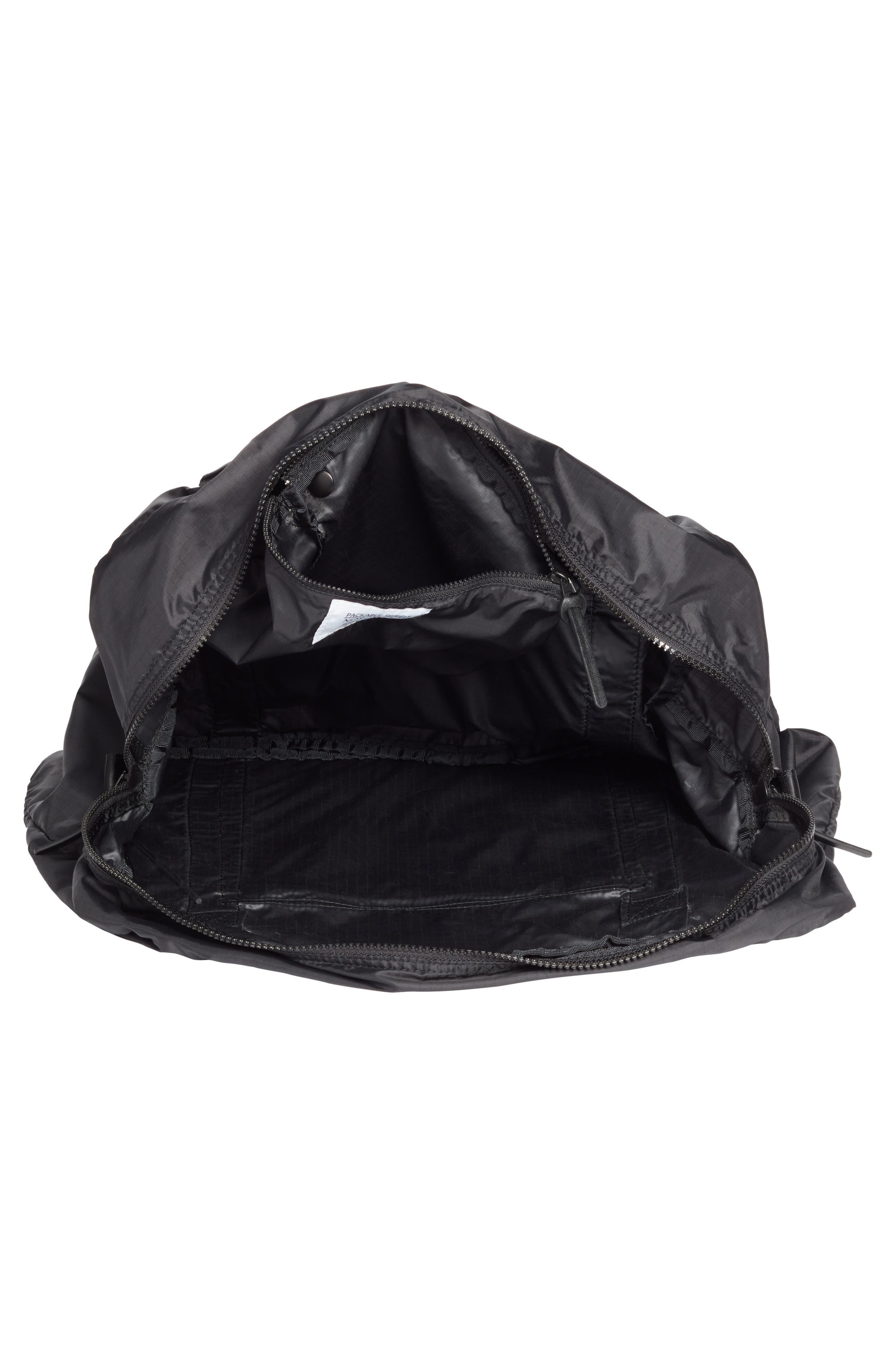 NORDSTROM, Packable Nylon Duffel Bag, Alternate thumbnail 5, color, BLACK