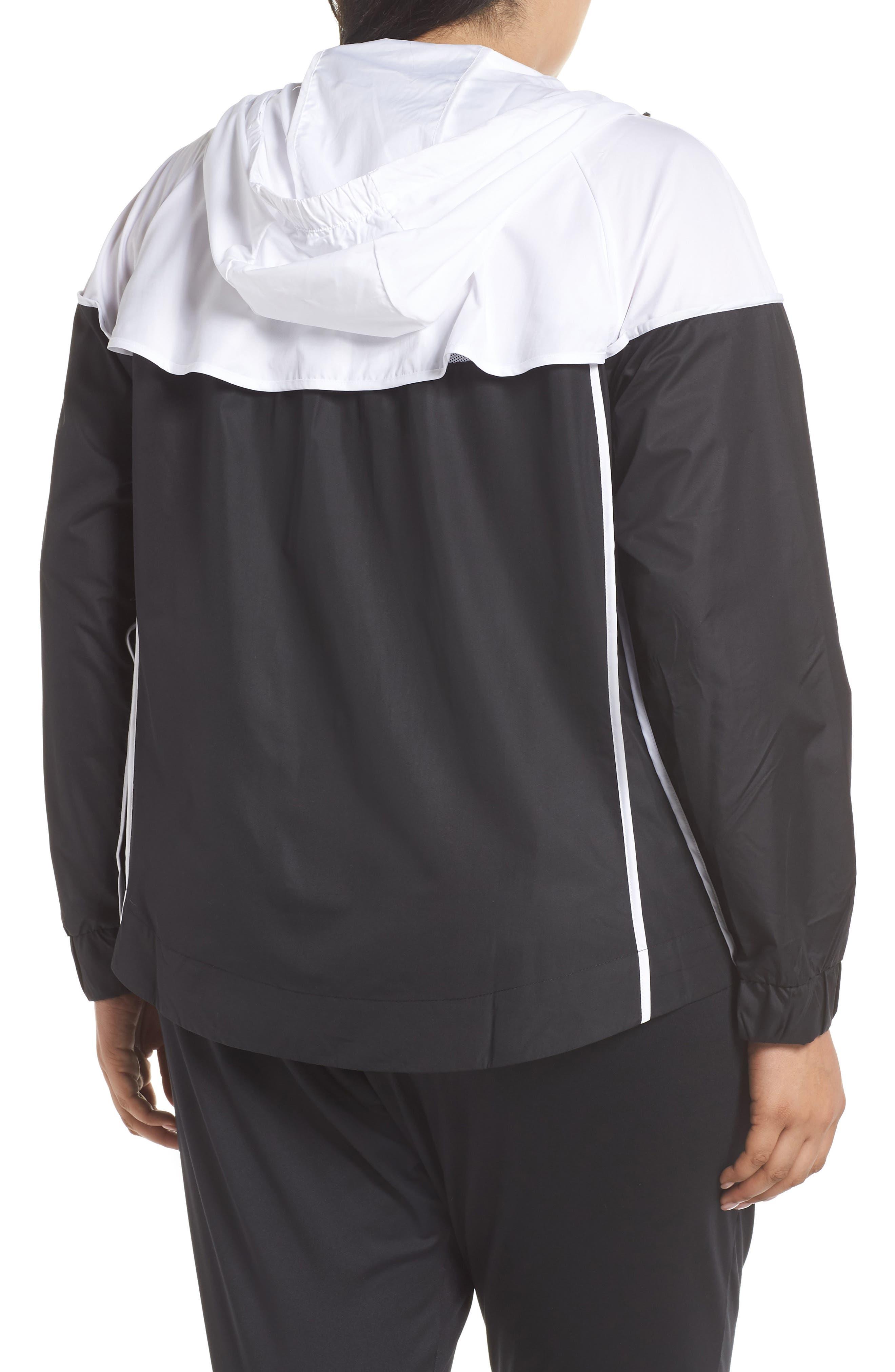 NIKE, Sportswear Windrunner Jacket, Alternate thumbnail 2, color, BLACK/ WHITE/ BLACK