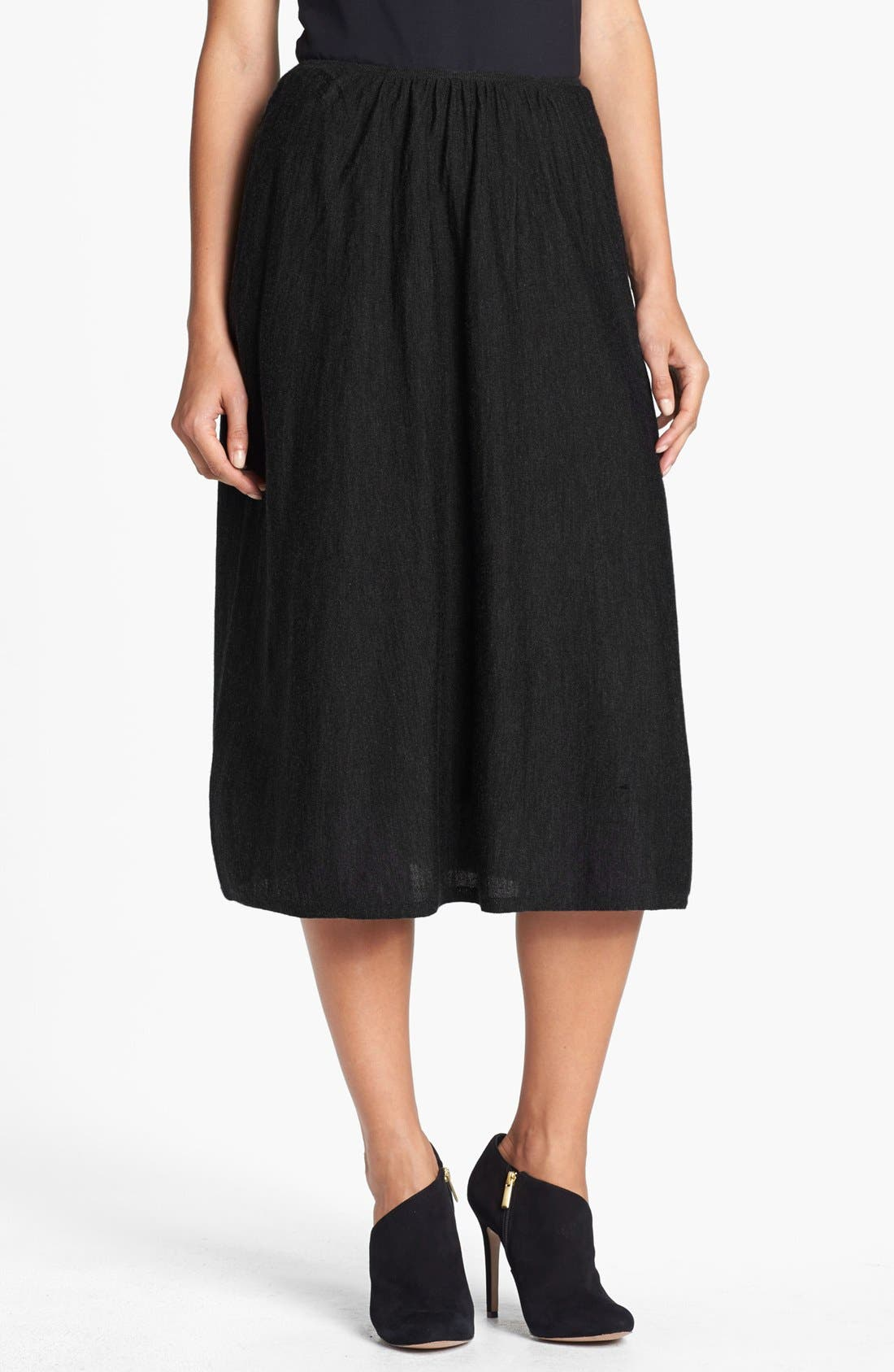 EILEEN FISHER Merino Wool Jersey Skirt, Main, color, 001