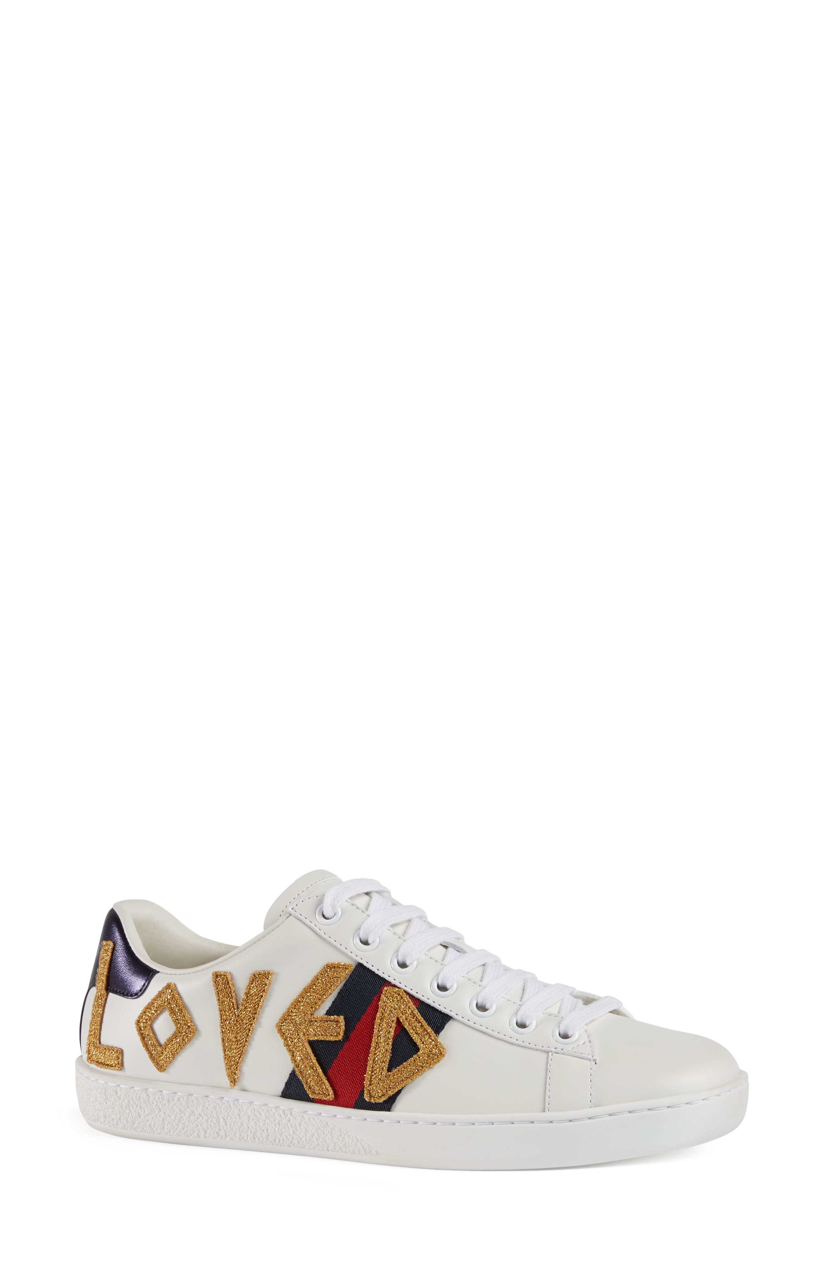 GUCCI, New Ace Loved Sneakers, Main thumbnail 1, color, WHITE