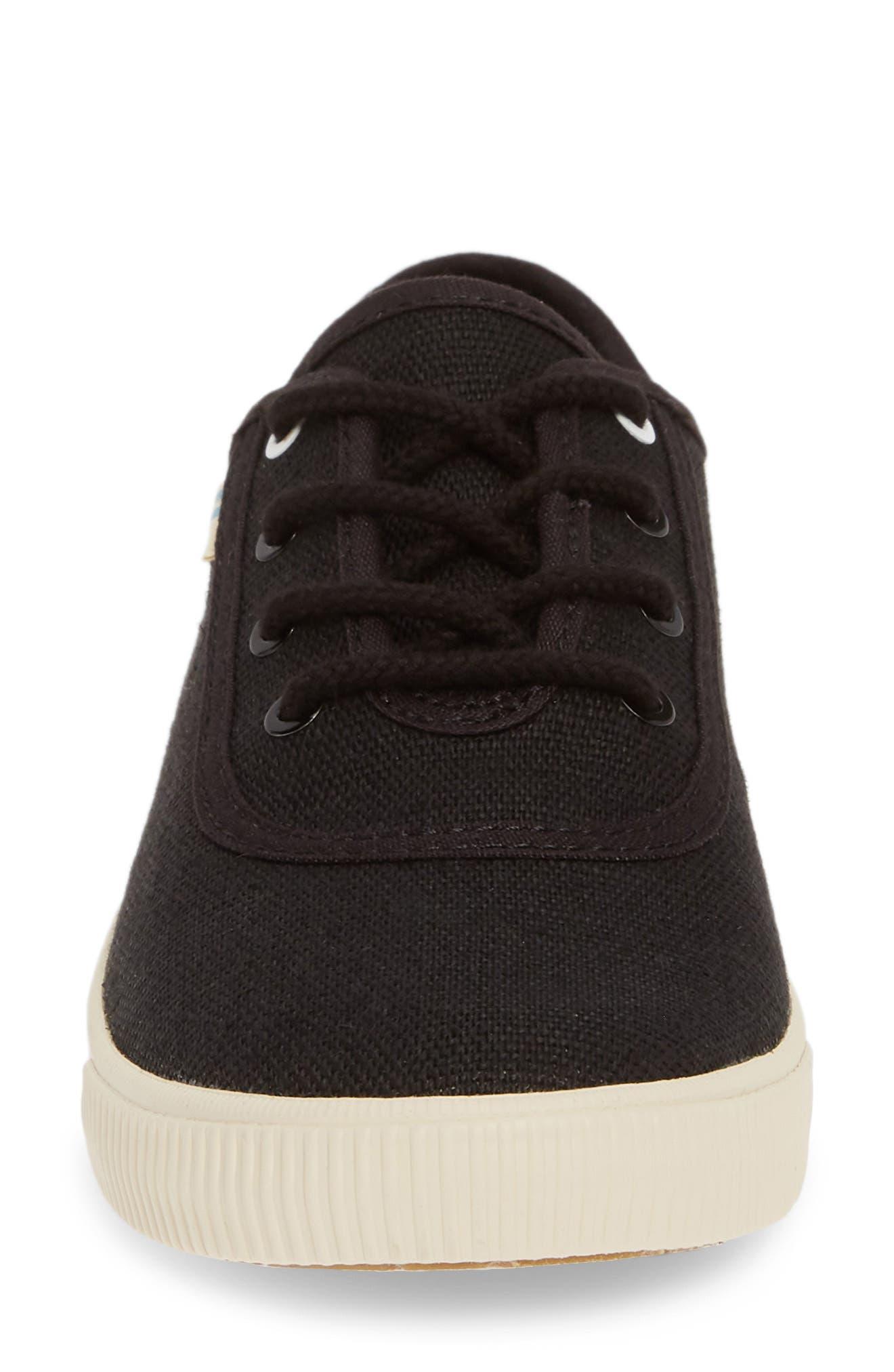 TOMS, Carmel Sneaker, Alternate thumbnail 4, color, BLACK HERITAGE CANVAS