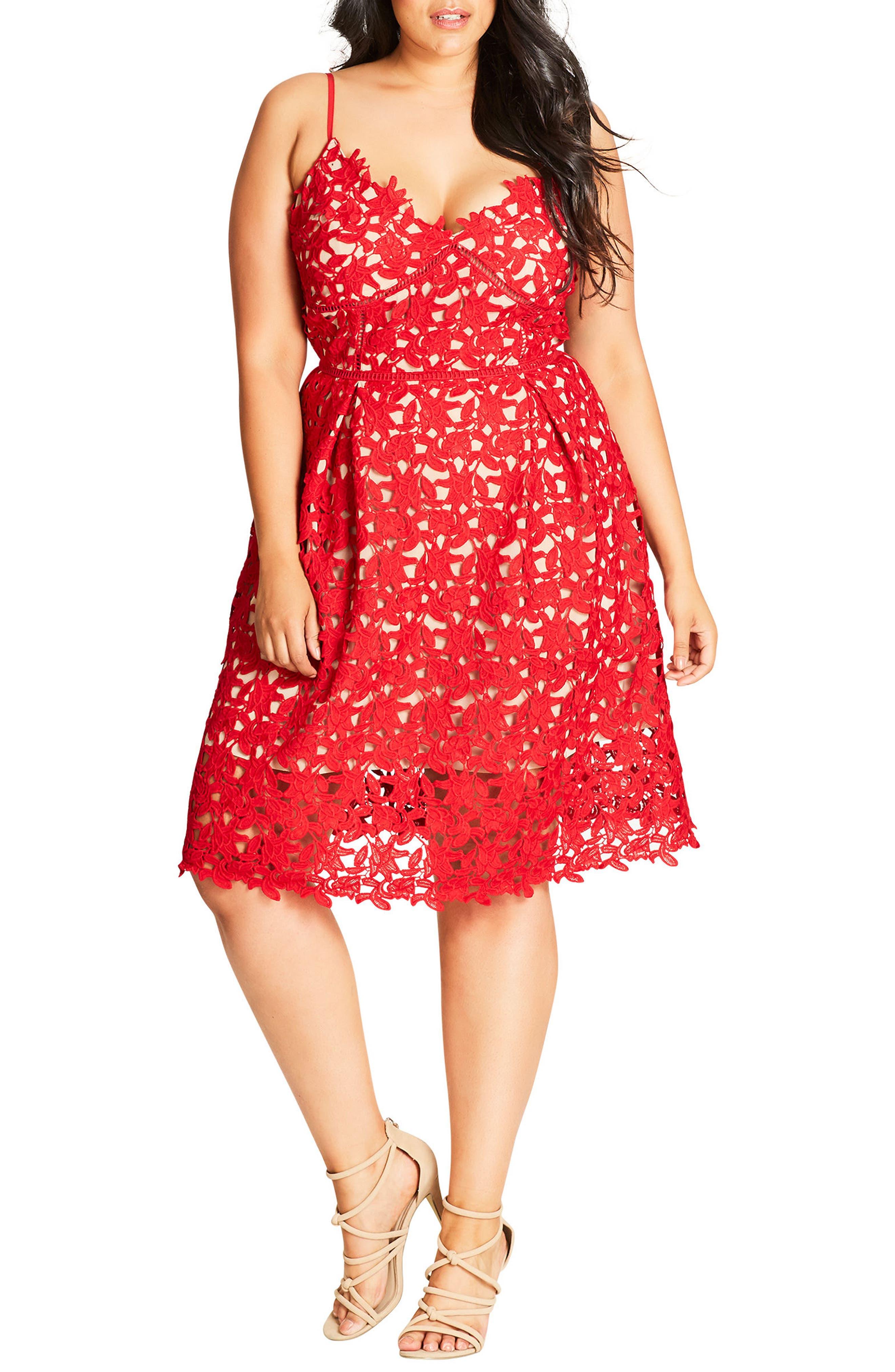 CITY CHIC, So Fancy Lace Dress, Main thumbnail 1, color, SCARLET